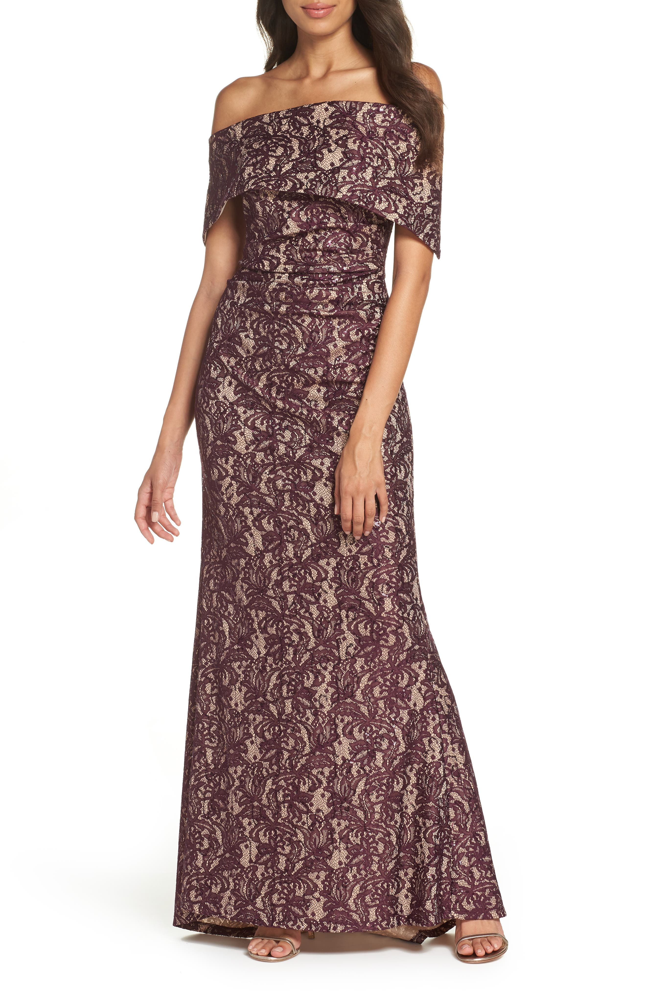 VINCE CAMUTO, Sequin Off the Shoulder Gown, Main thumbnail 1, color, WINE