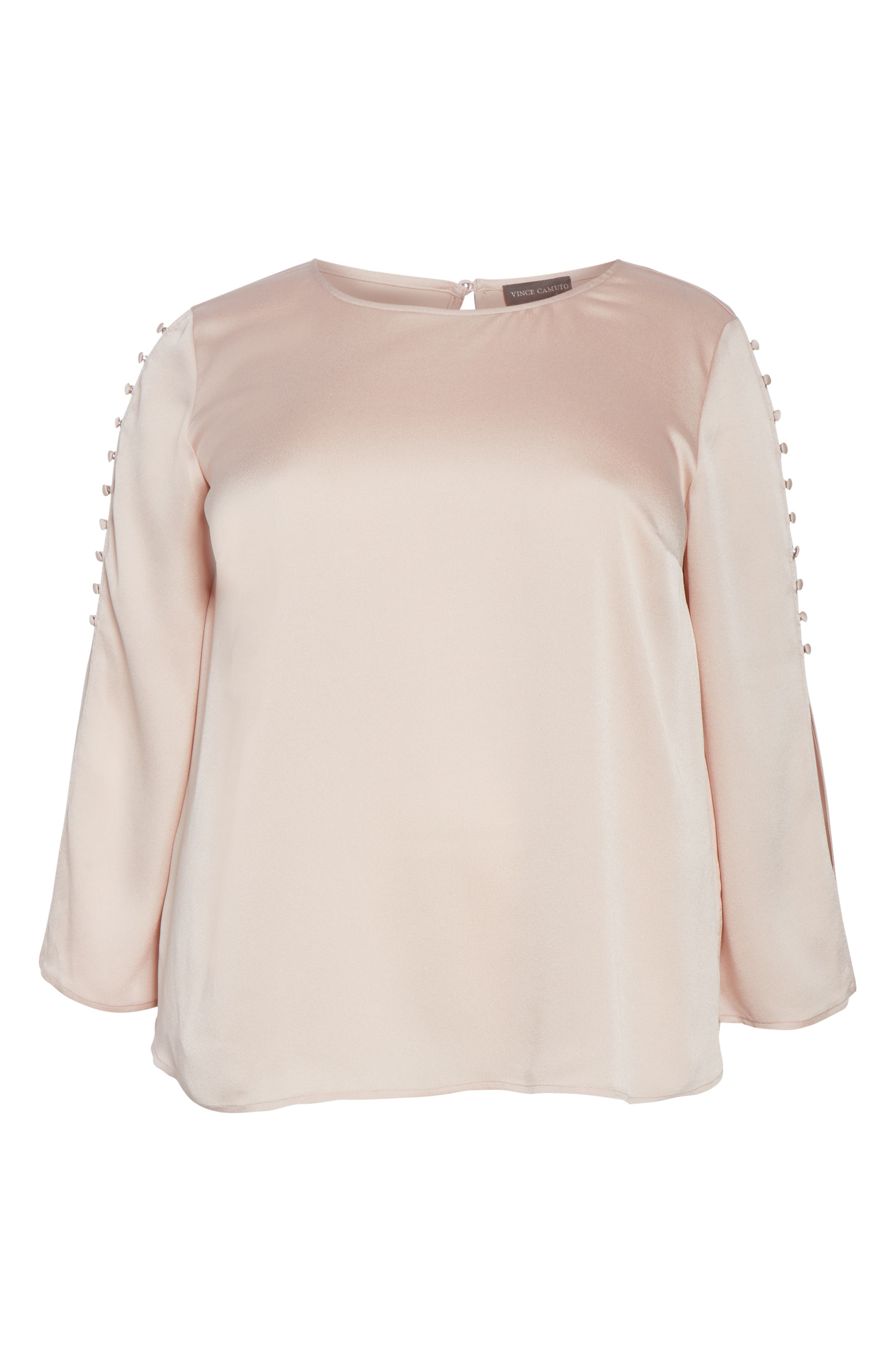 VINCE CAMUTO, Button Bell Sleeve Blouse, Alternate thumbnail 6, color, ROSE BUFF