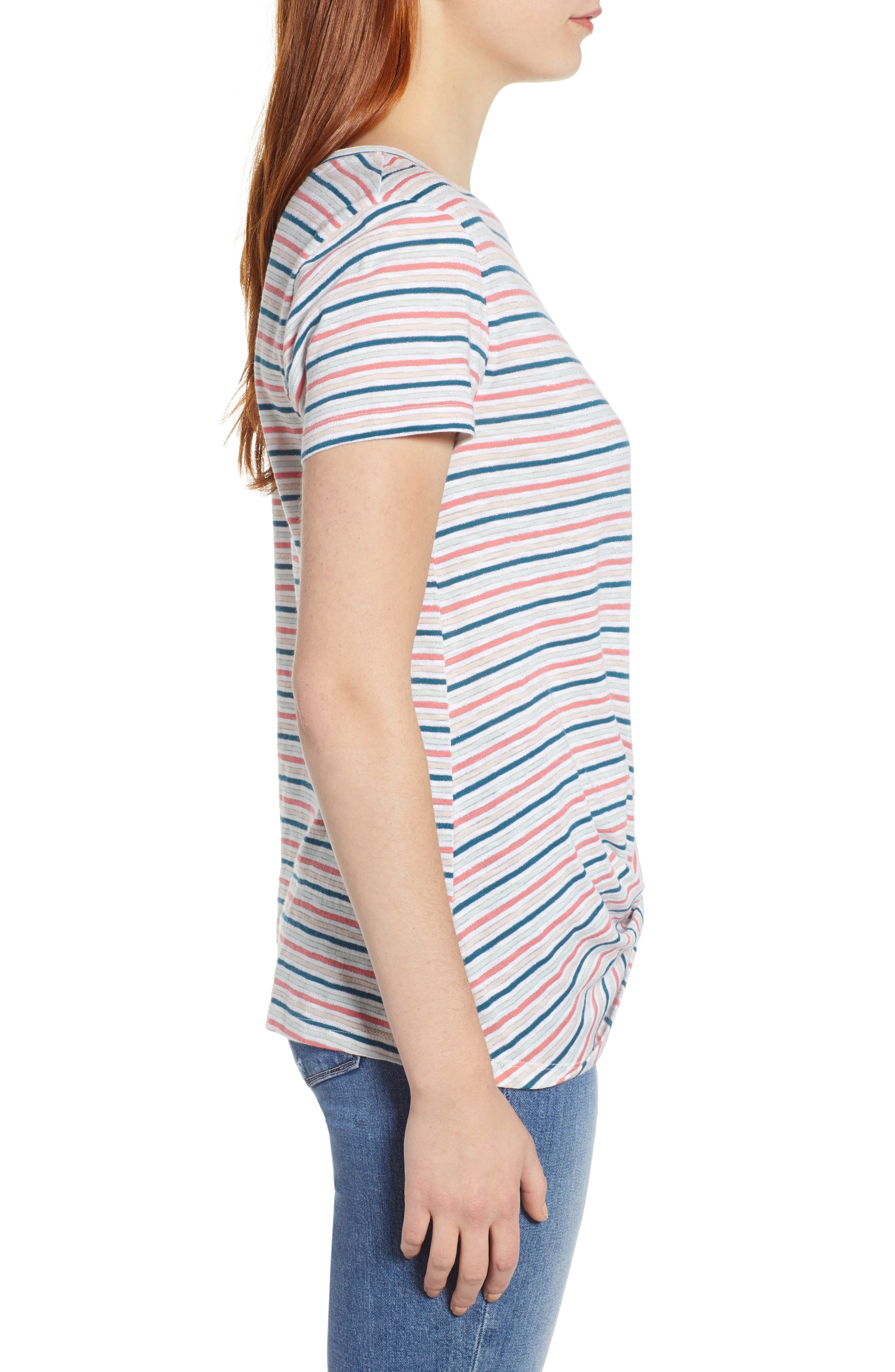 CASLON<SUP>®</SUP>, Metallic Stripe Knot Front Tee, Alternate thumbnail 3, color, IVORY- BLUE CANDY STP