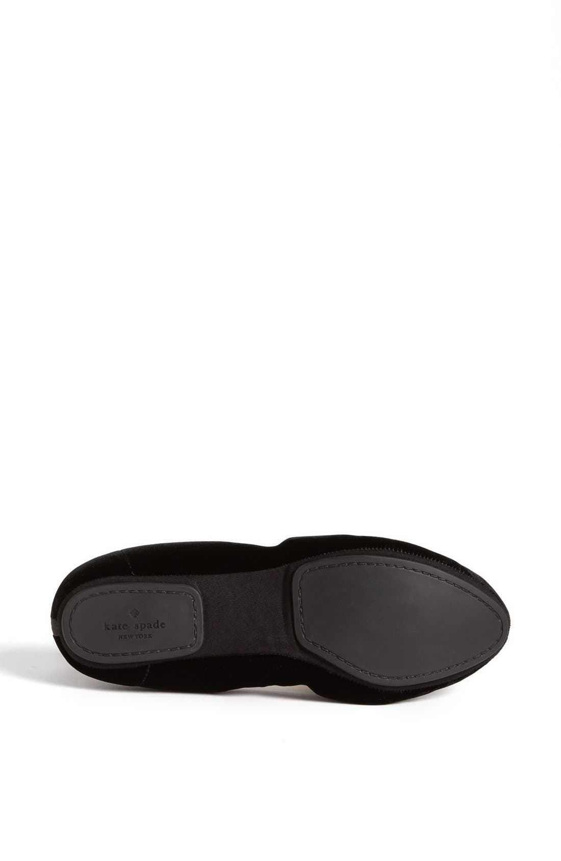 KATE SPADE NEW YORK, 'catcher' flat, Alternate thumbnail 3, color, 001