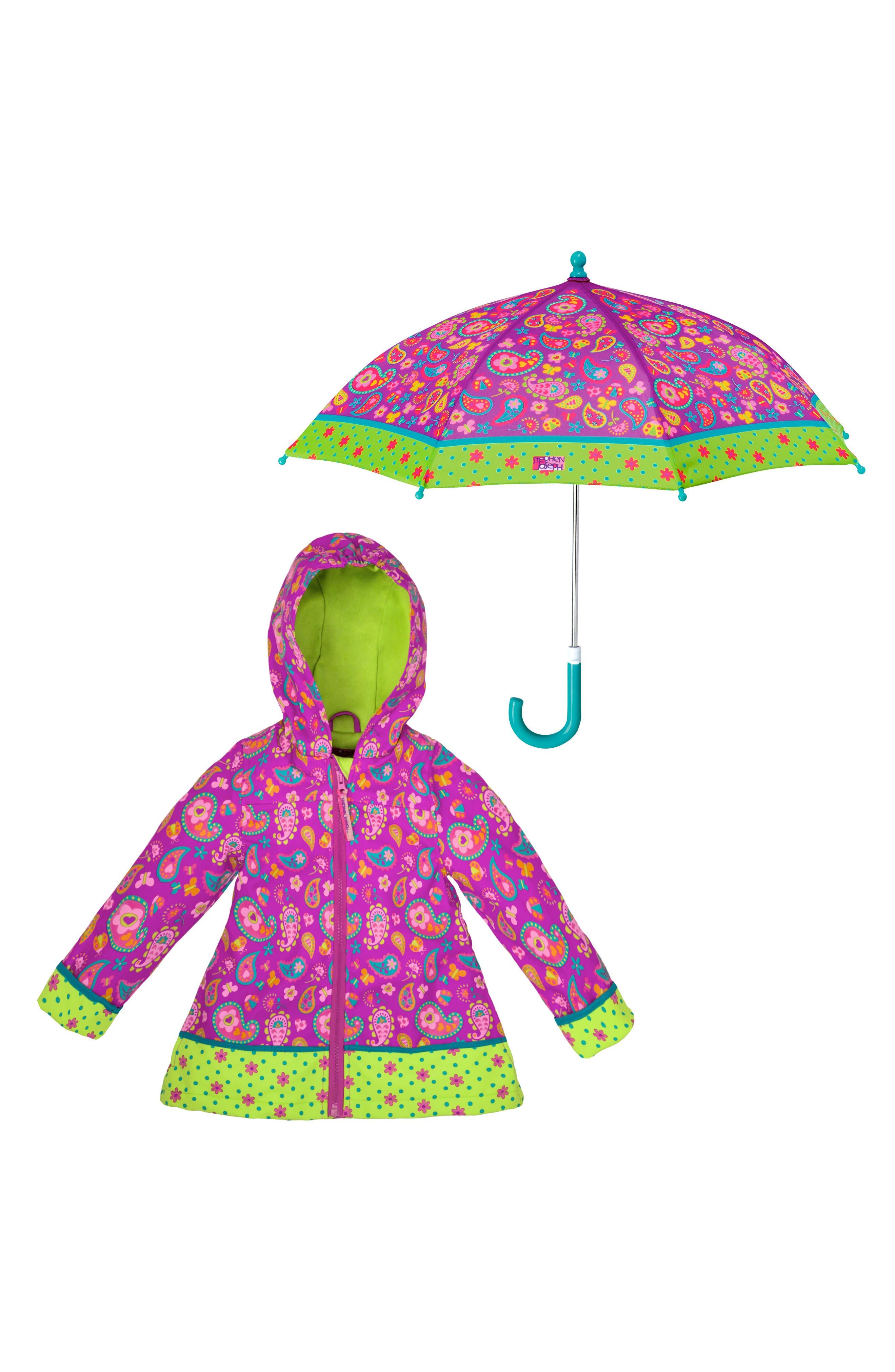 Toddler Girls Stephen Joseph Print Raincoat  Umbrella Set
