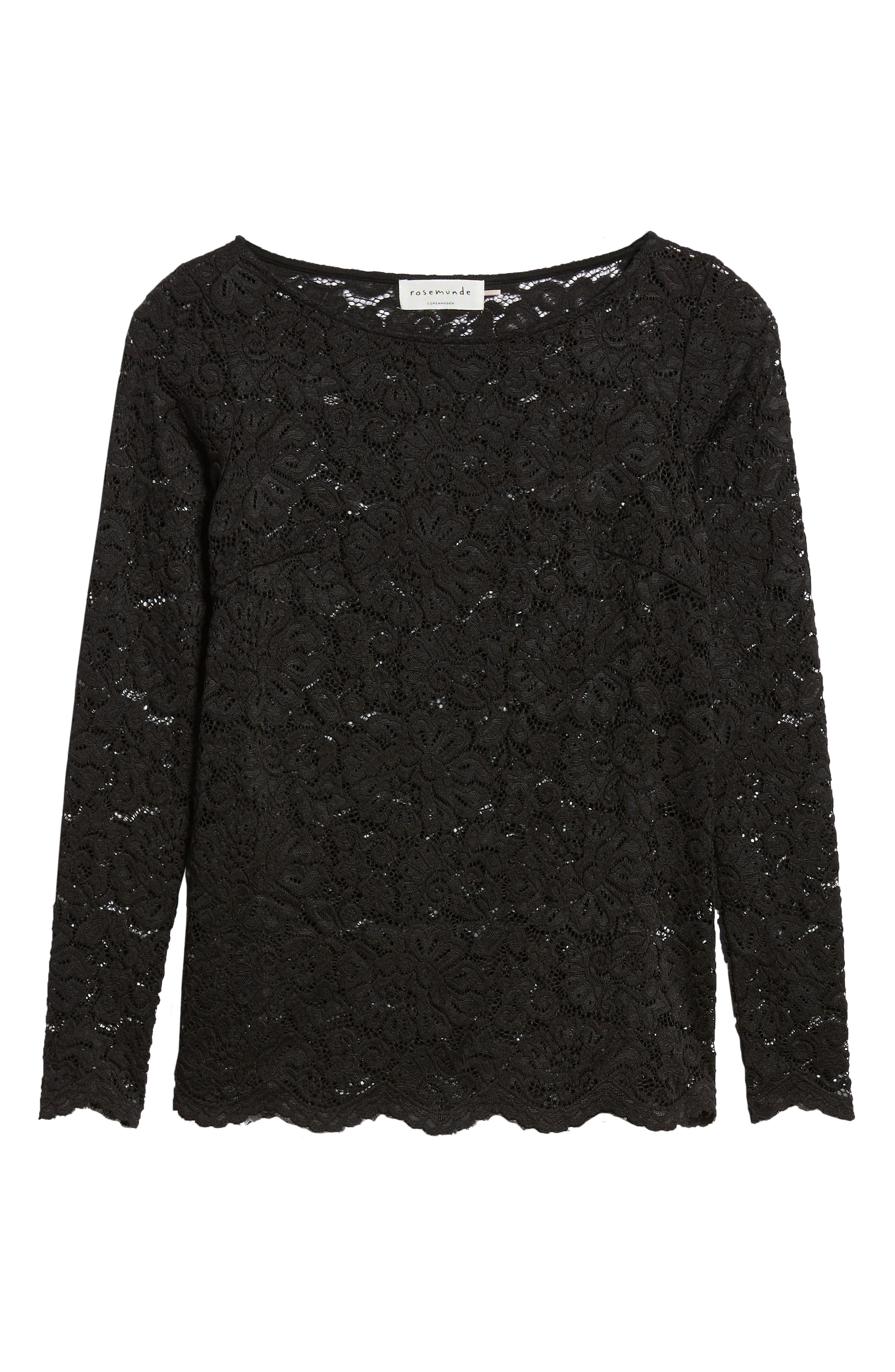 ROSEMUNDE, Filipa Lace Blouse, Alternate thumbnail 6, color, BLACK