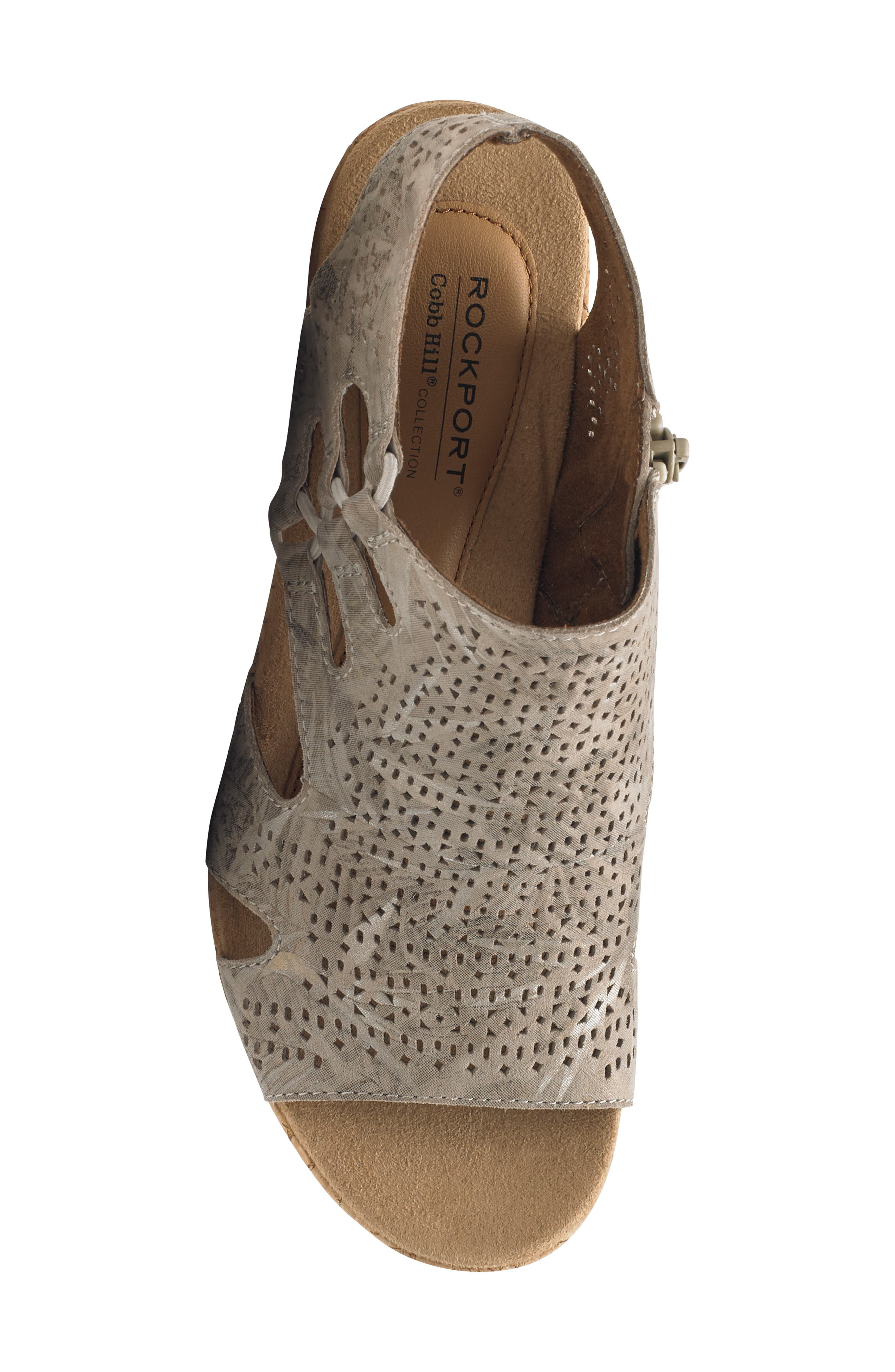 ROCKPORT COBB HILL, Janna Perforated Wedge Sandal, Alternate thumbnail 5, color, FLORAL METALLIC LEATHER