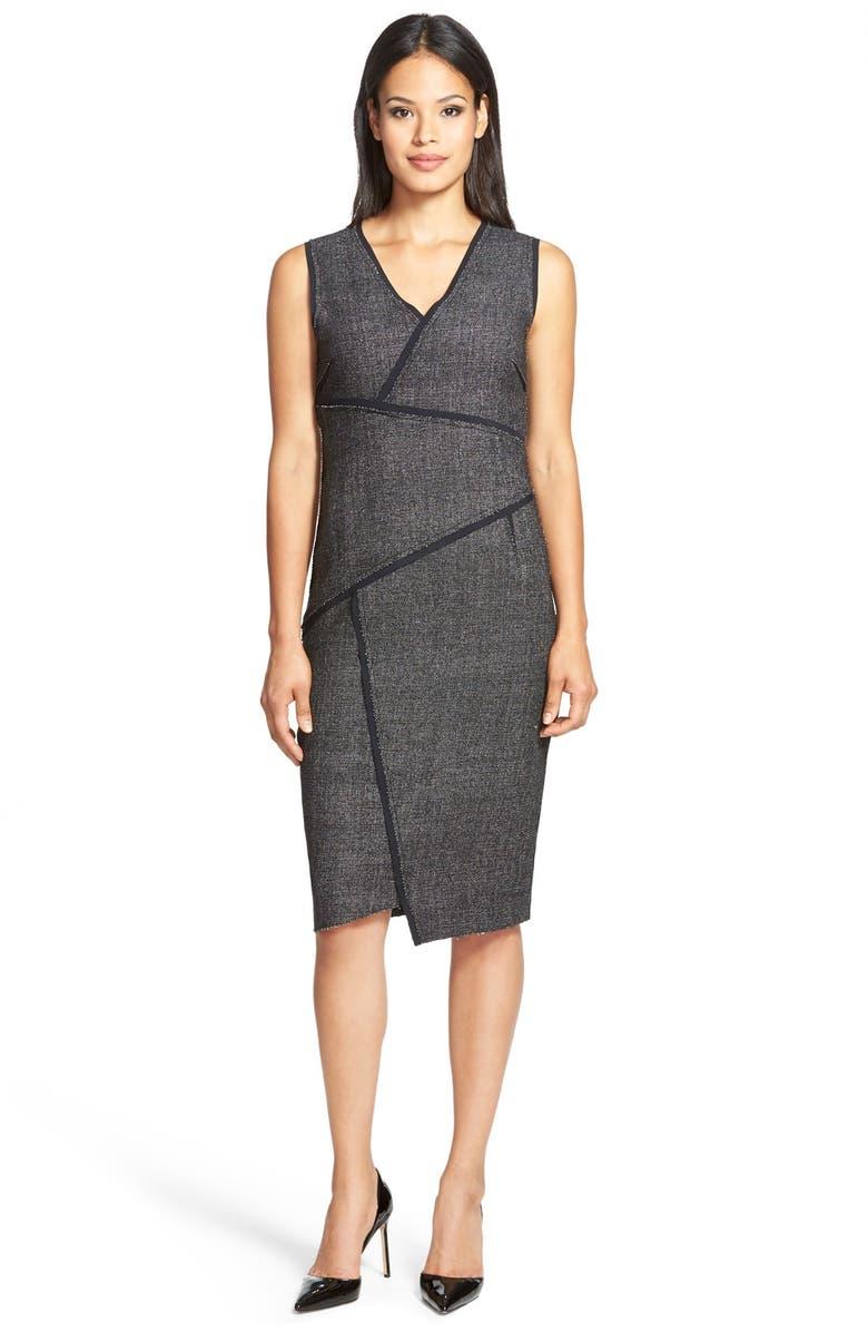 3891d585 ELIE TAHARI 'Angela' Asymmetrical Tweed Panel Sheath Dress, Main, color, ...