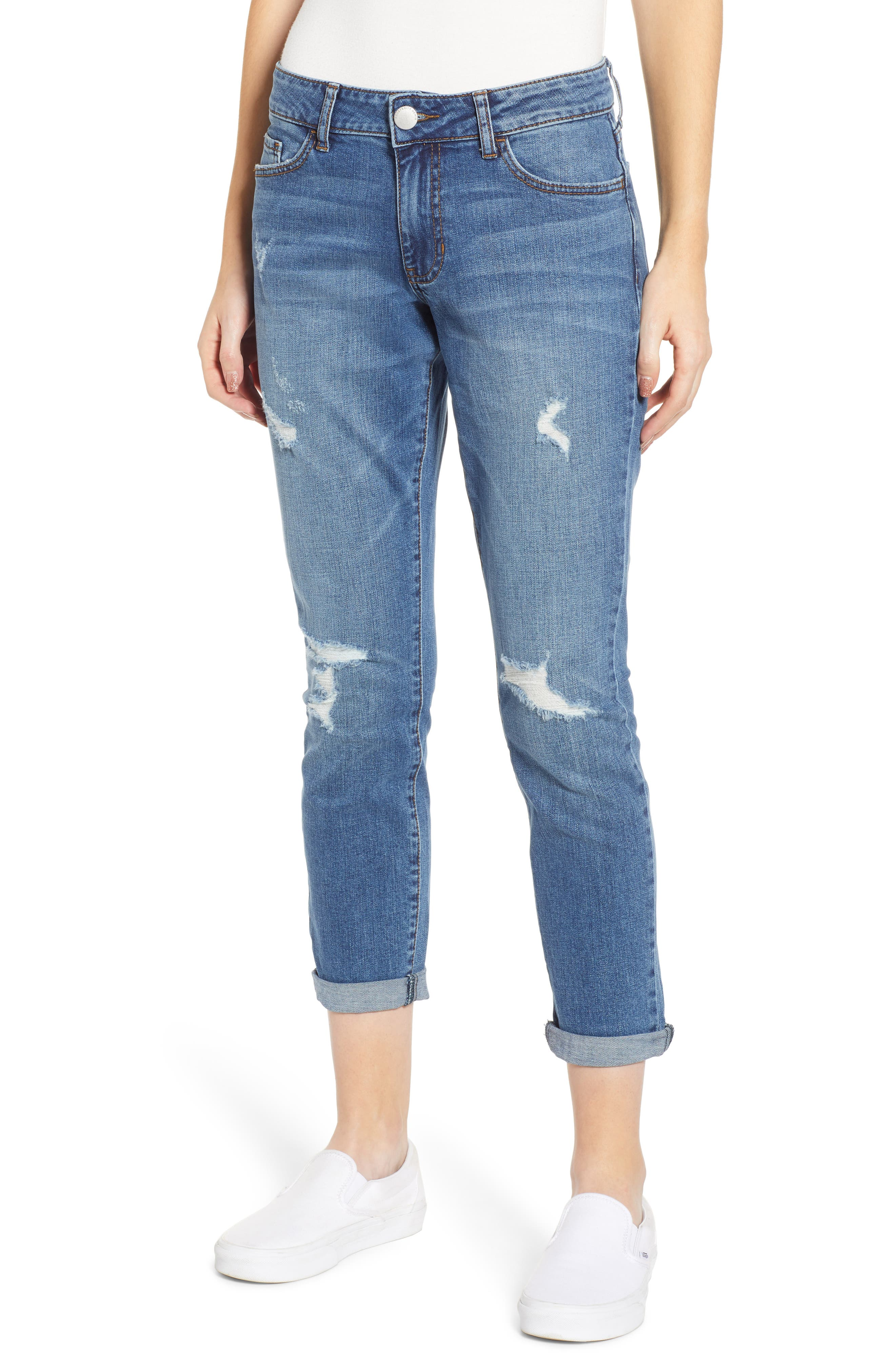 PROSPERITY DENIM, Distressed Ankle Boyfriend Jeans, Main thumbnail 1, color, MEDIUM WASH