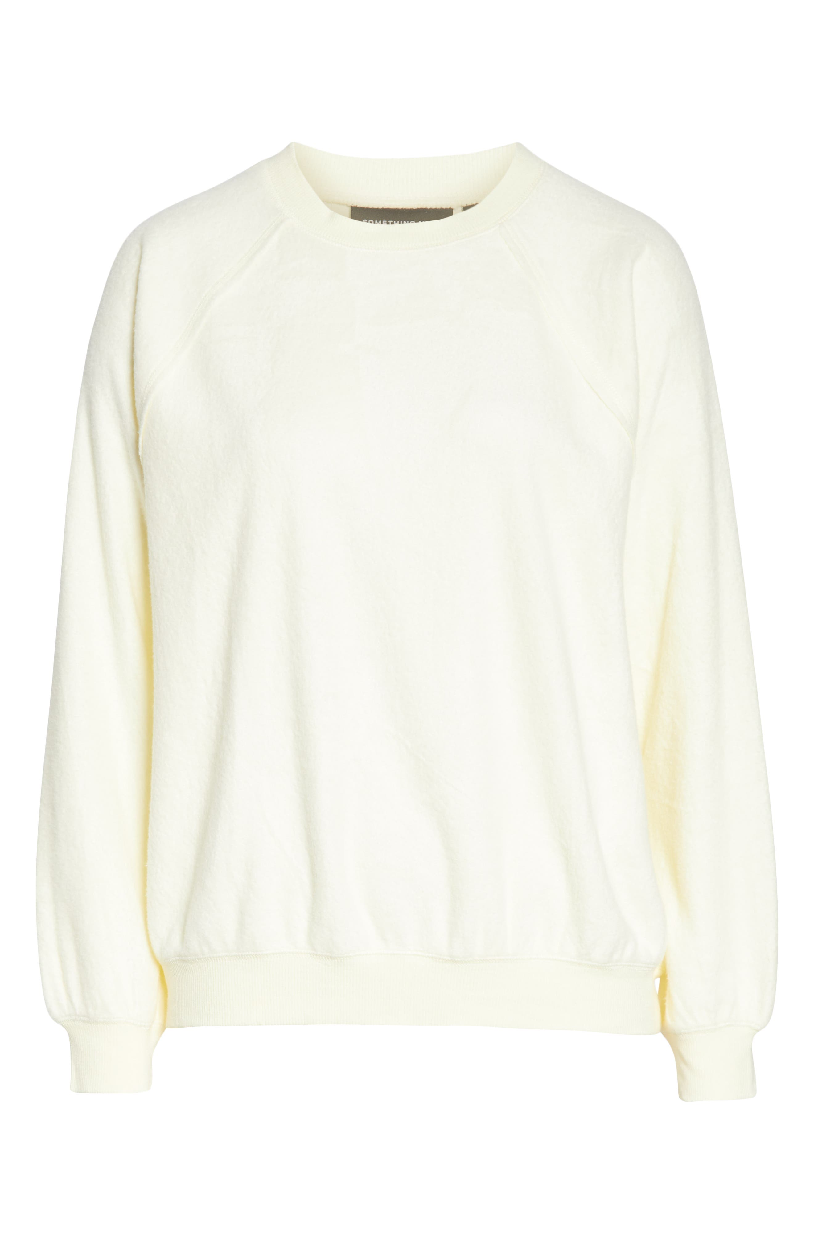 SOMETHING NAVY, Batwing Fleece Pullover, Alternate thumbnail 7, color, YELLOW FROST