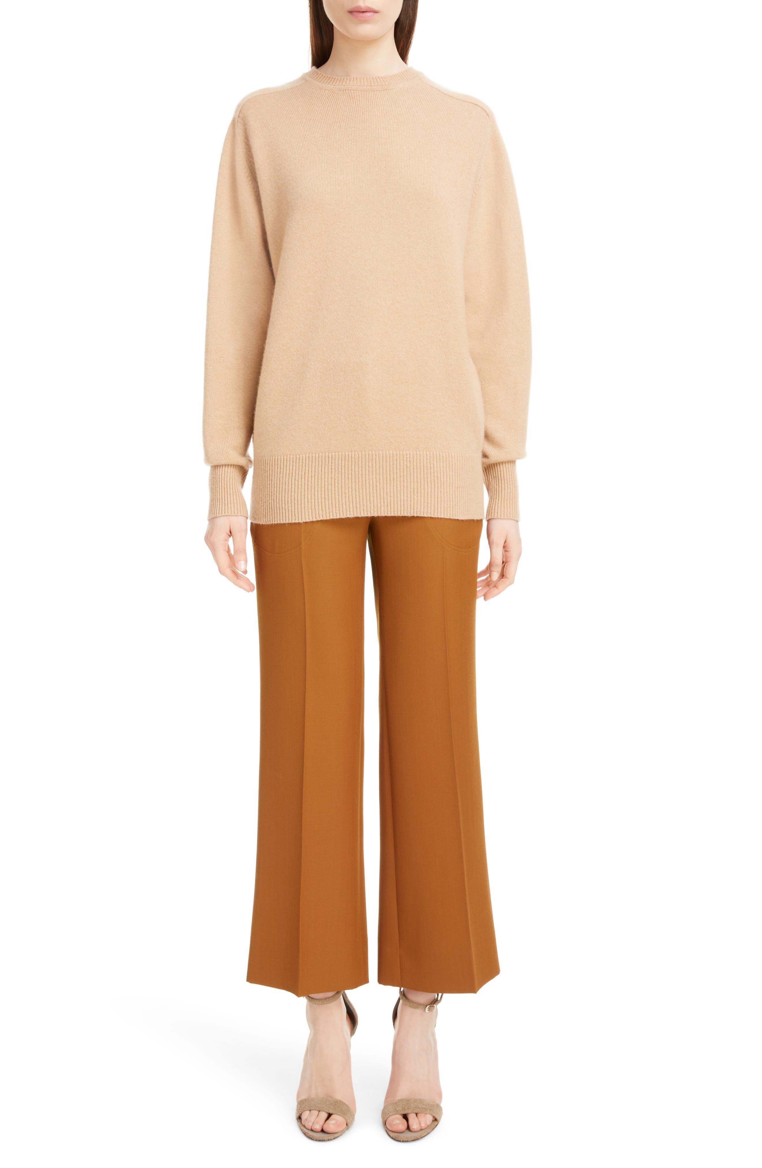 VICTORIA BECKHAM, Cashmere Blend Sweater, Alternate thumbnail 6, color, LIGHT CAMEL