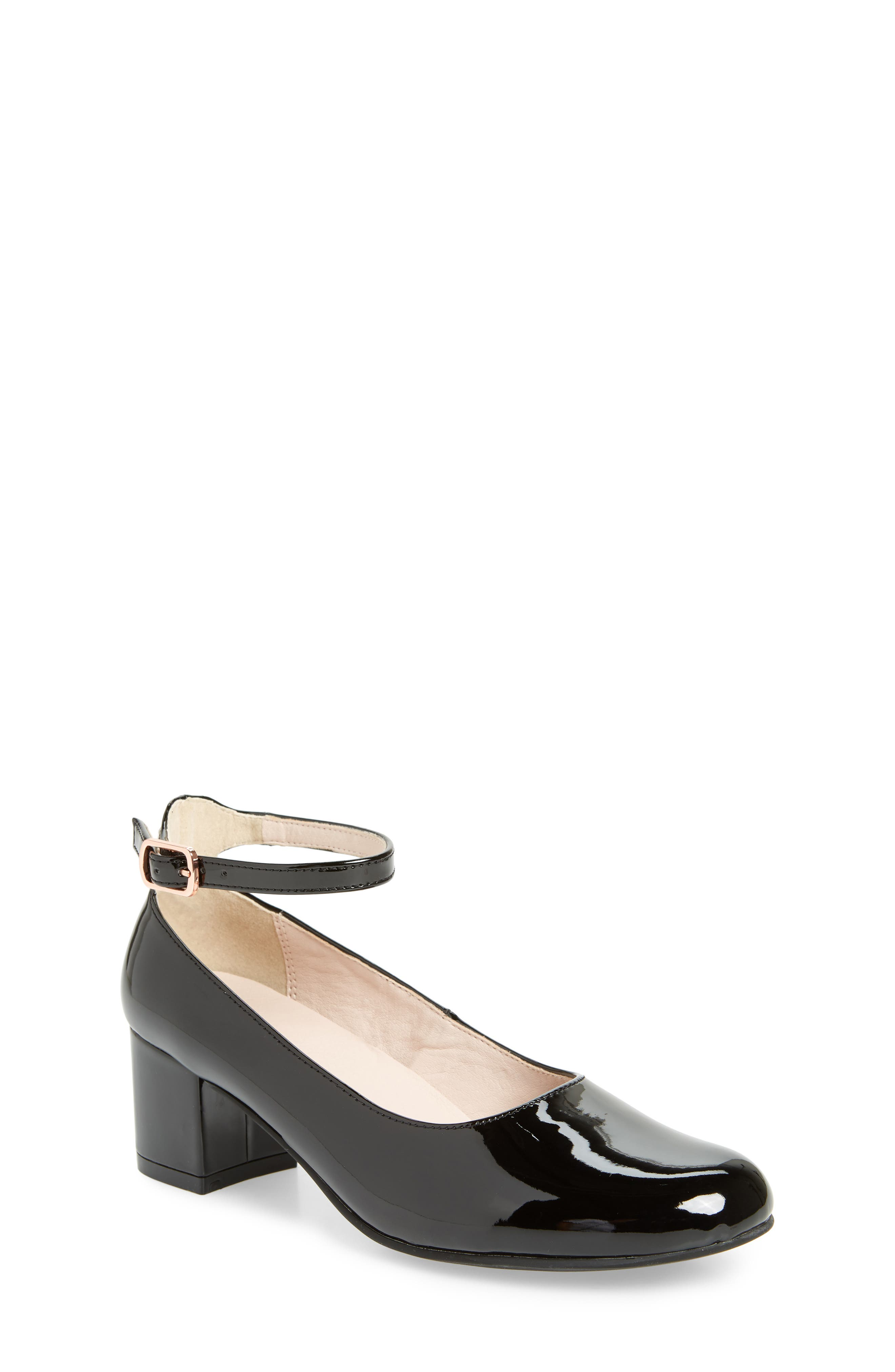 RUBY & BLOOM Jessica Ankle Strap Pump, Main, color, BLACK PATENT FAUX LEATHER