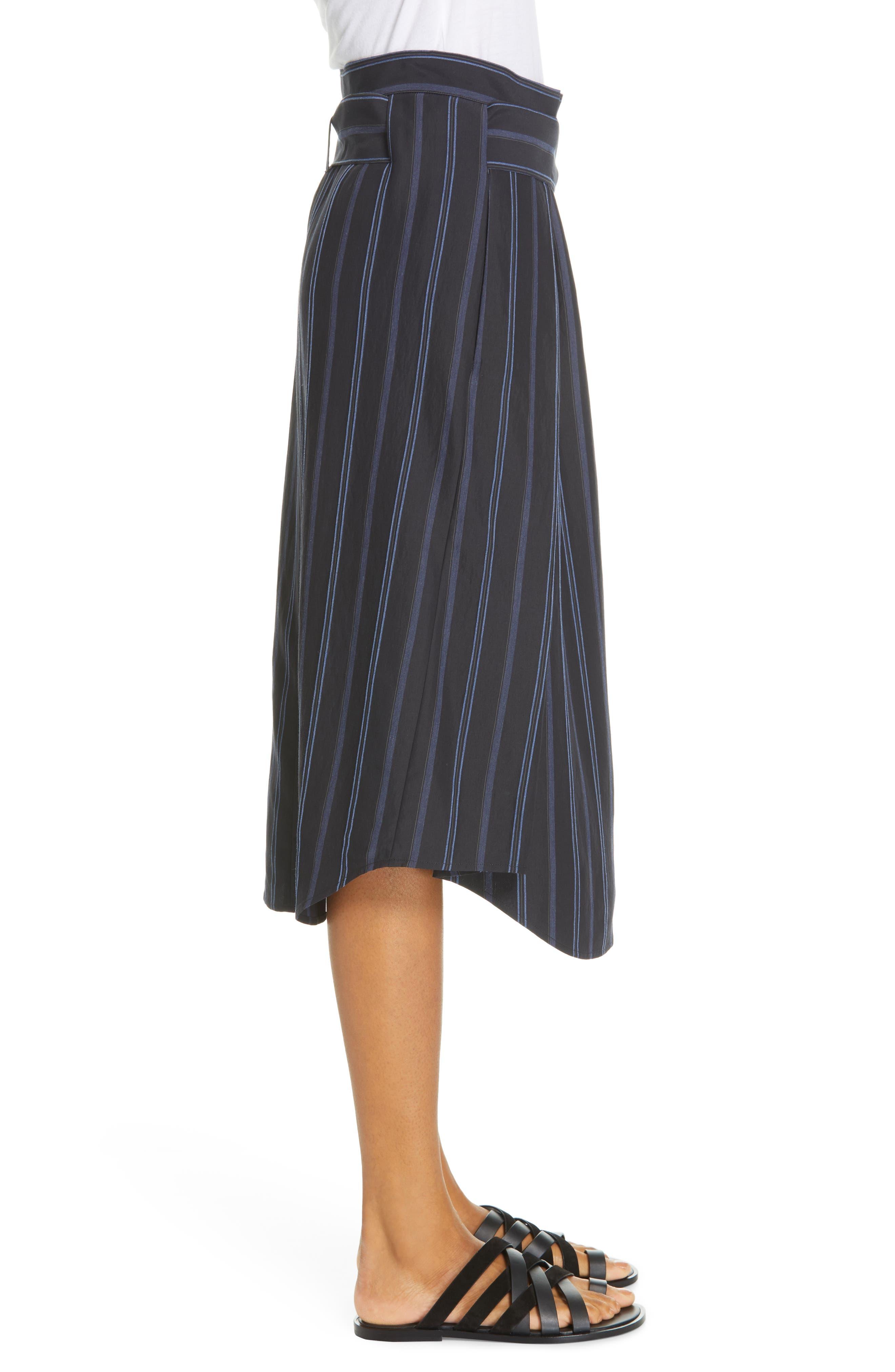VINCE, Dobby Stripe Belted Skirt, Alternate thumbnail 3, color, INDIGO