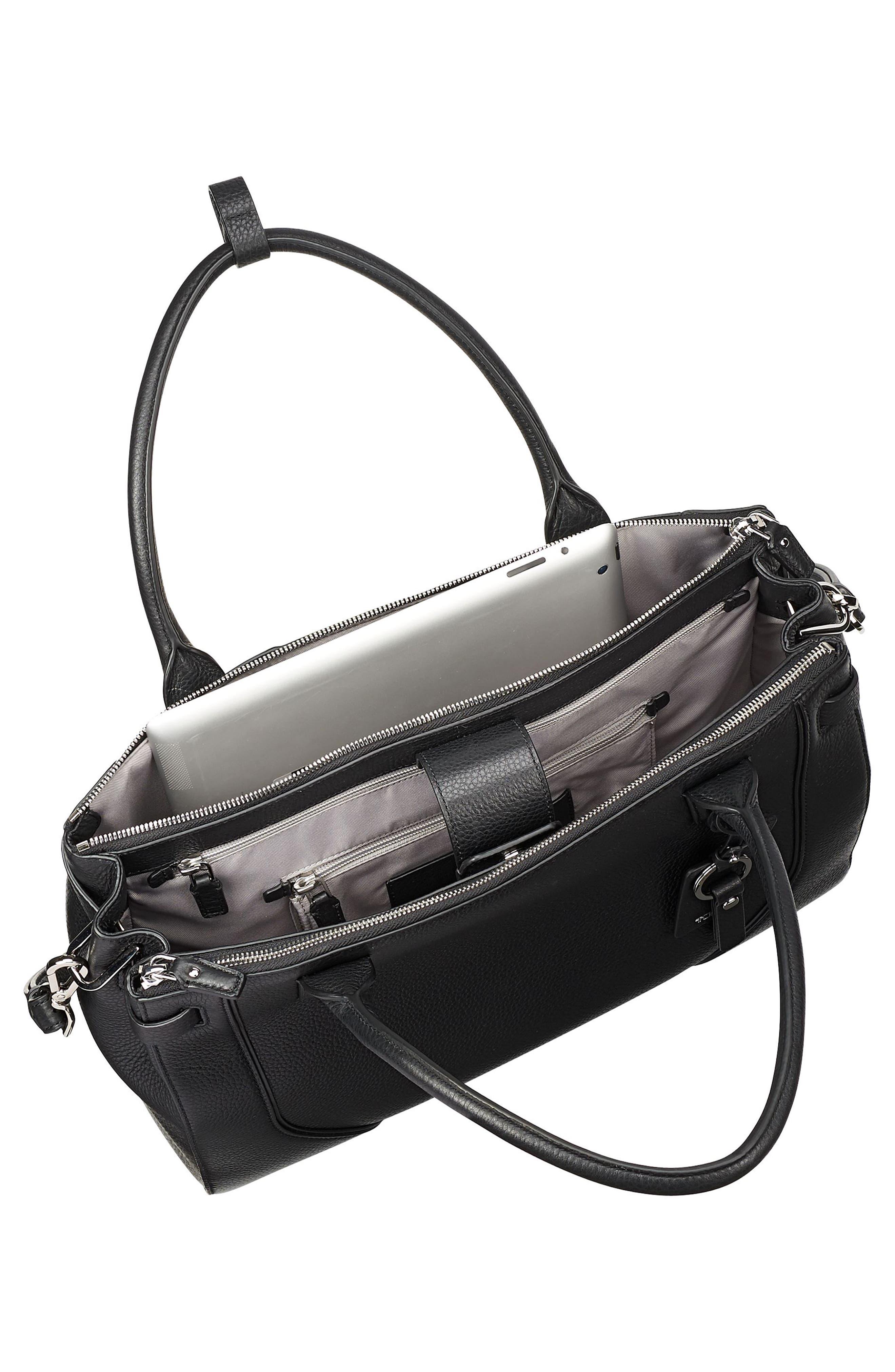 TUMI, Stanton Kiran Leather Laptop Briefcase, Alternate thumbnail 6, color, BLACK