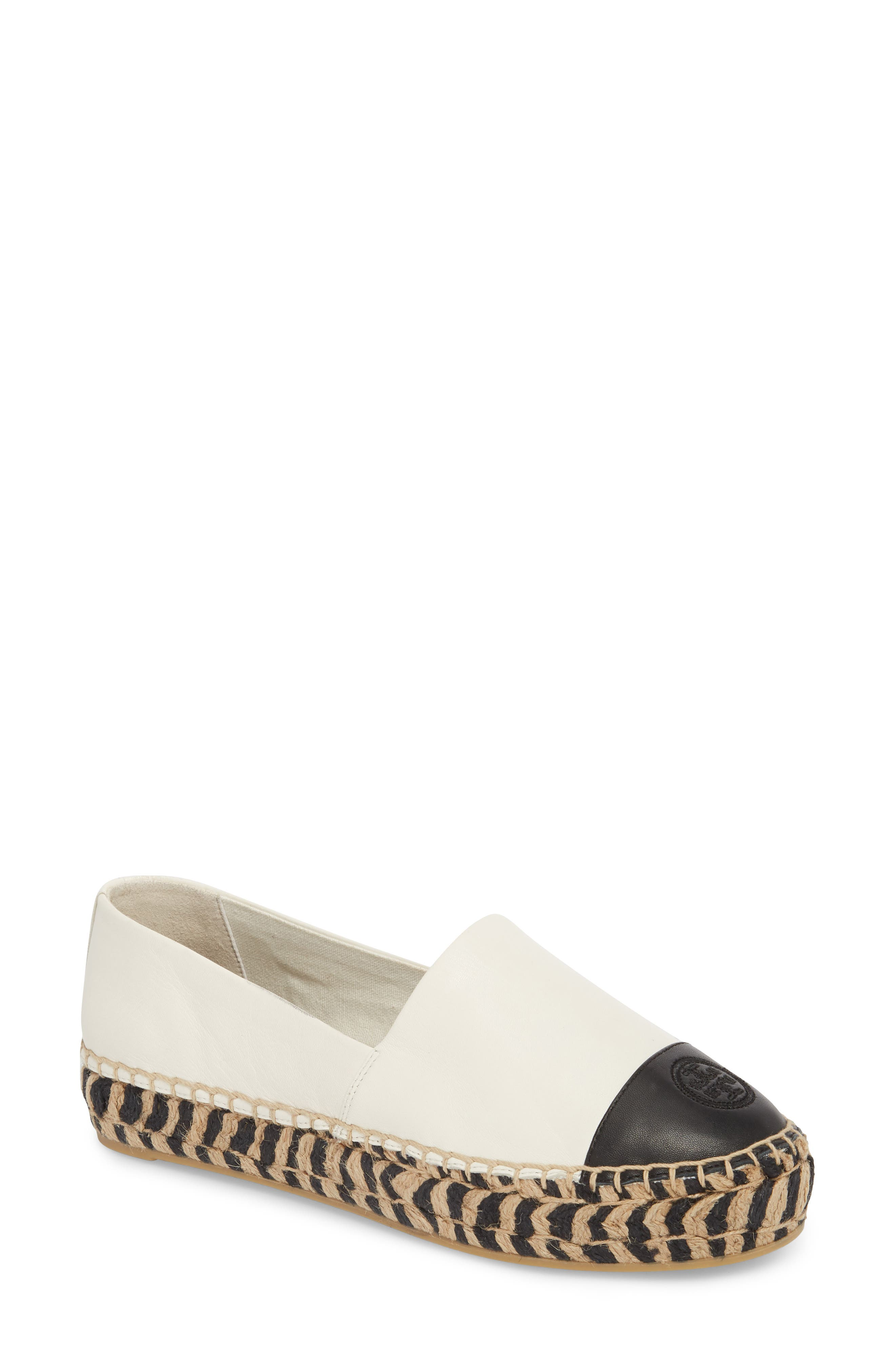 TORY BURCH, Colorblock Platform Espadrille, Main thumbnail 1, color, PERFECT IVORY/ PERFECT BLACK