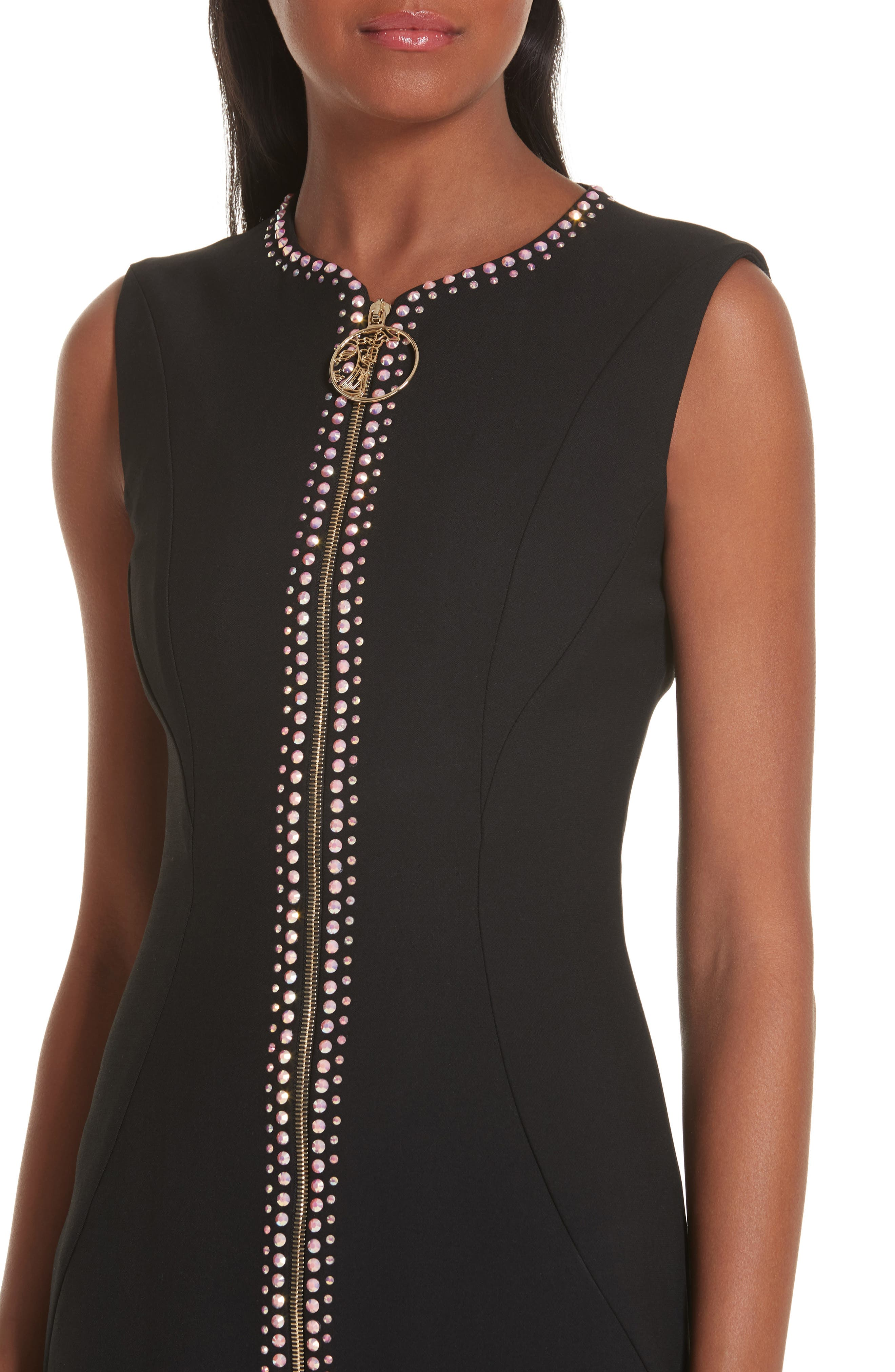 VERSACE COLLECTION, Crystal Embellished Zip Front Dress, Alternate thumbnail 5, color, BLACK