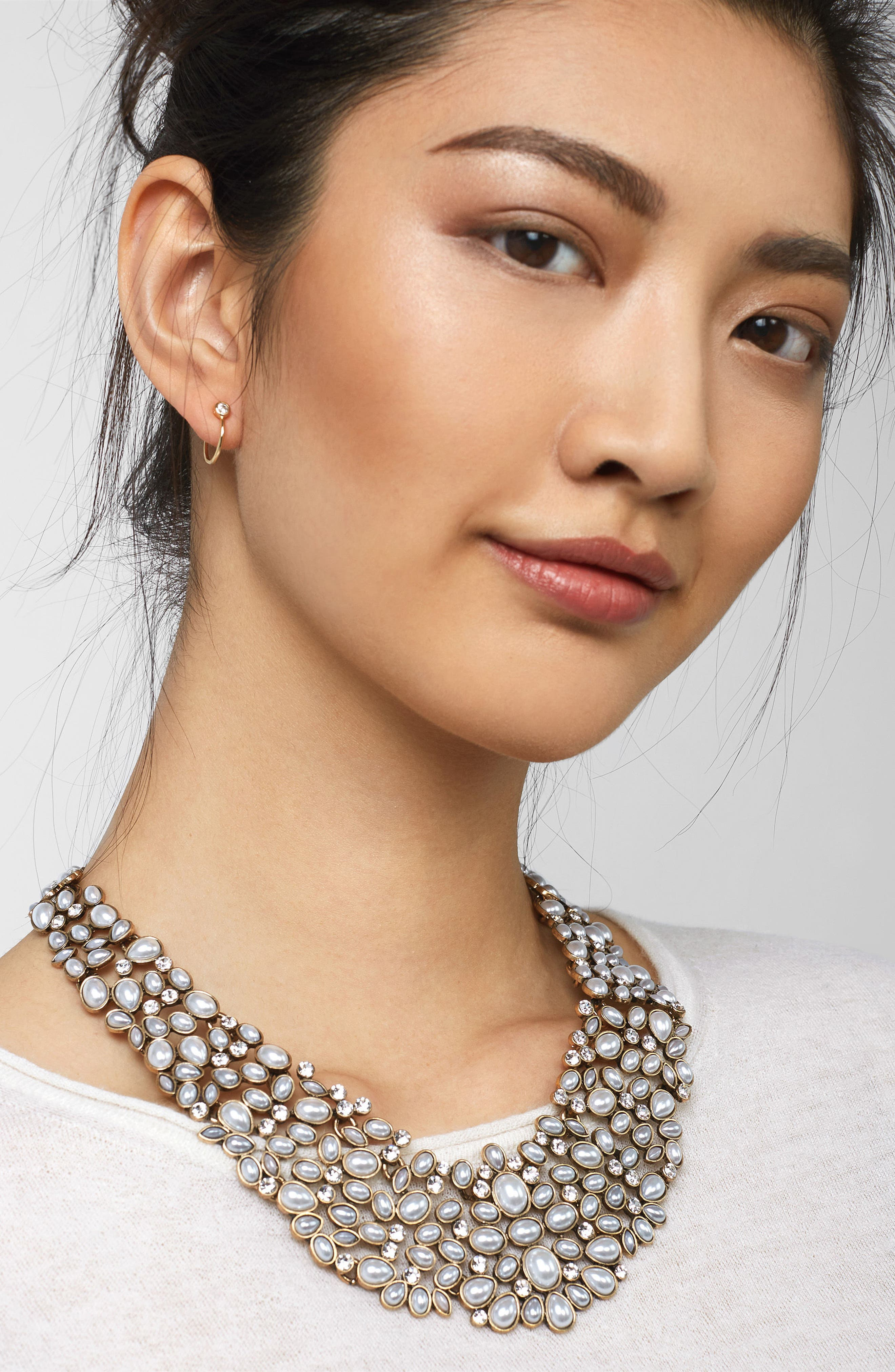 BAUBLEBAR, 'Kew' Crystal Collar Necklace, Alternate thumbnail 4, color, PEARL/ GOLD