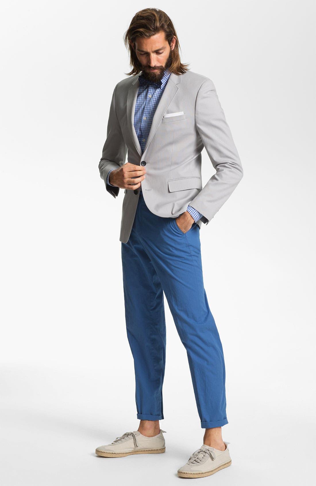 ZZDNUHUGO BOSS, HUGO 'Aeris' Trim Fit Cotton Blend Blazer, Alternate thumbnail 3, color, 030