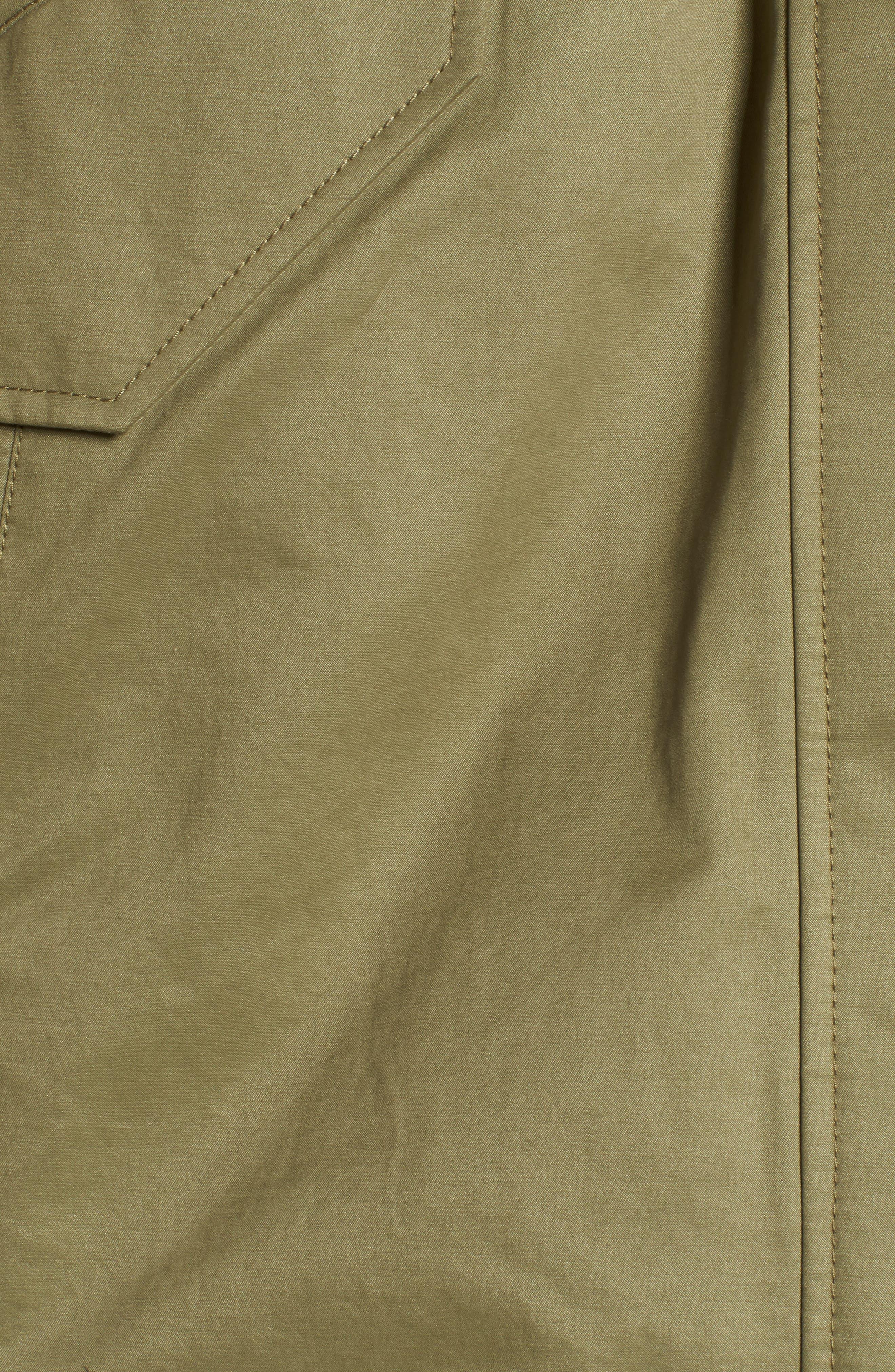 DEREK LAM 10 CROSBY, Genuine Fox Fur Trim Cotton Blend Parka, Alternate thumbnail 7, color, LODEN