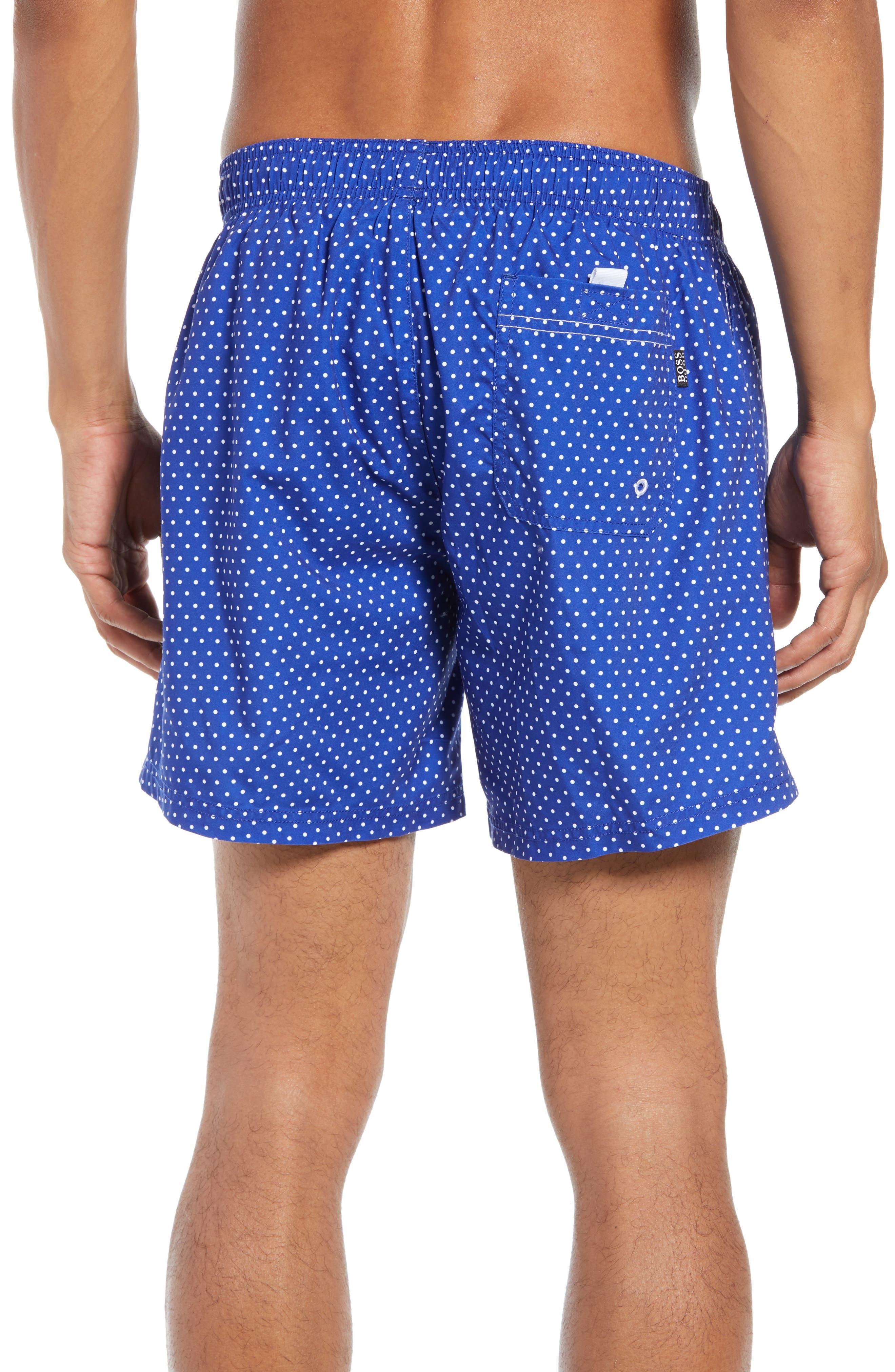 BOSS, Pike Regular Fit Polka Dot Swim Shorts, Alternate thumbnail 2, color, BLUE