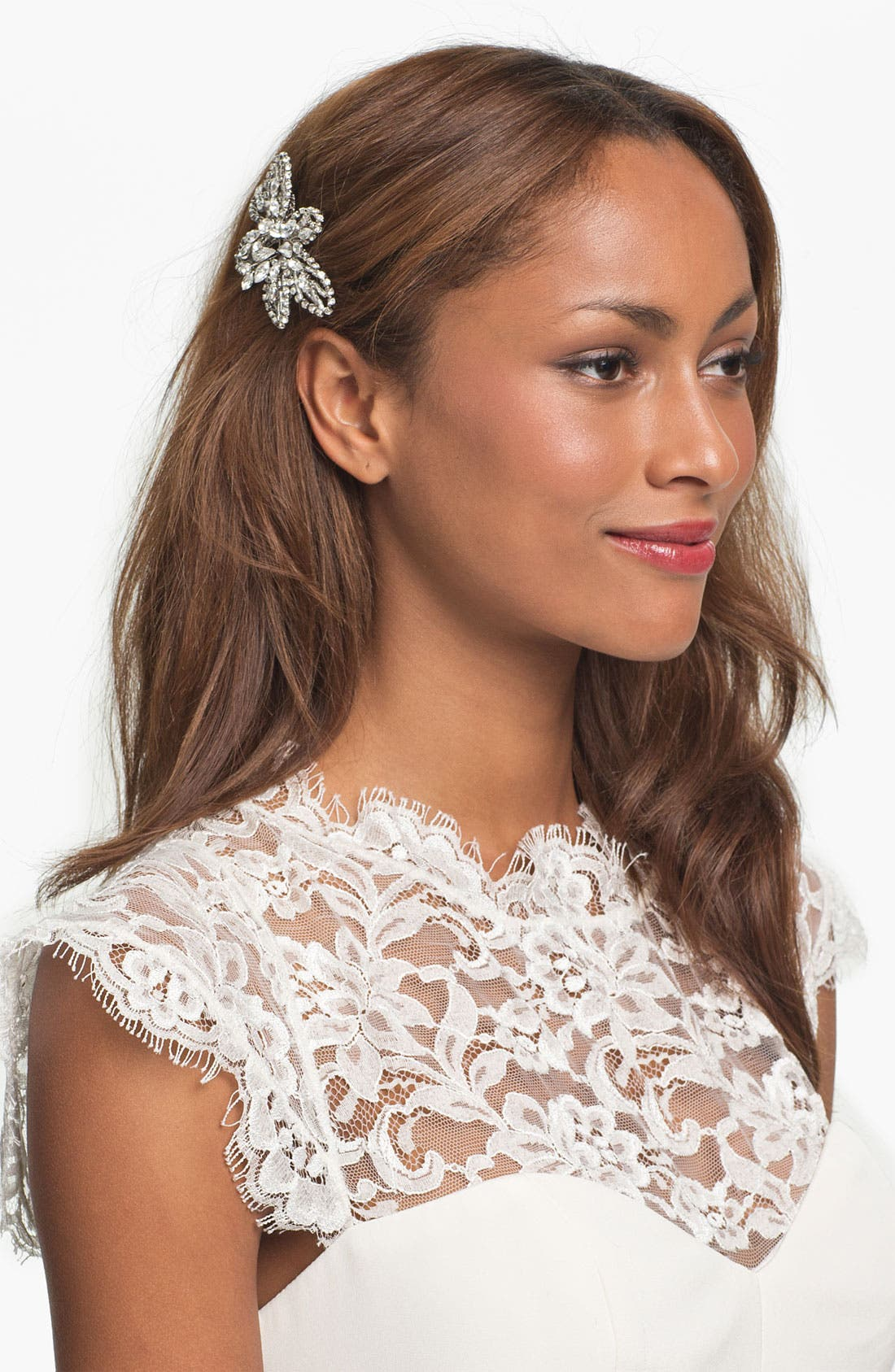NINA, 'Danai' Flower Crystal Hair Comb, Main thumbnail 1, color, 040