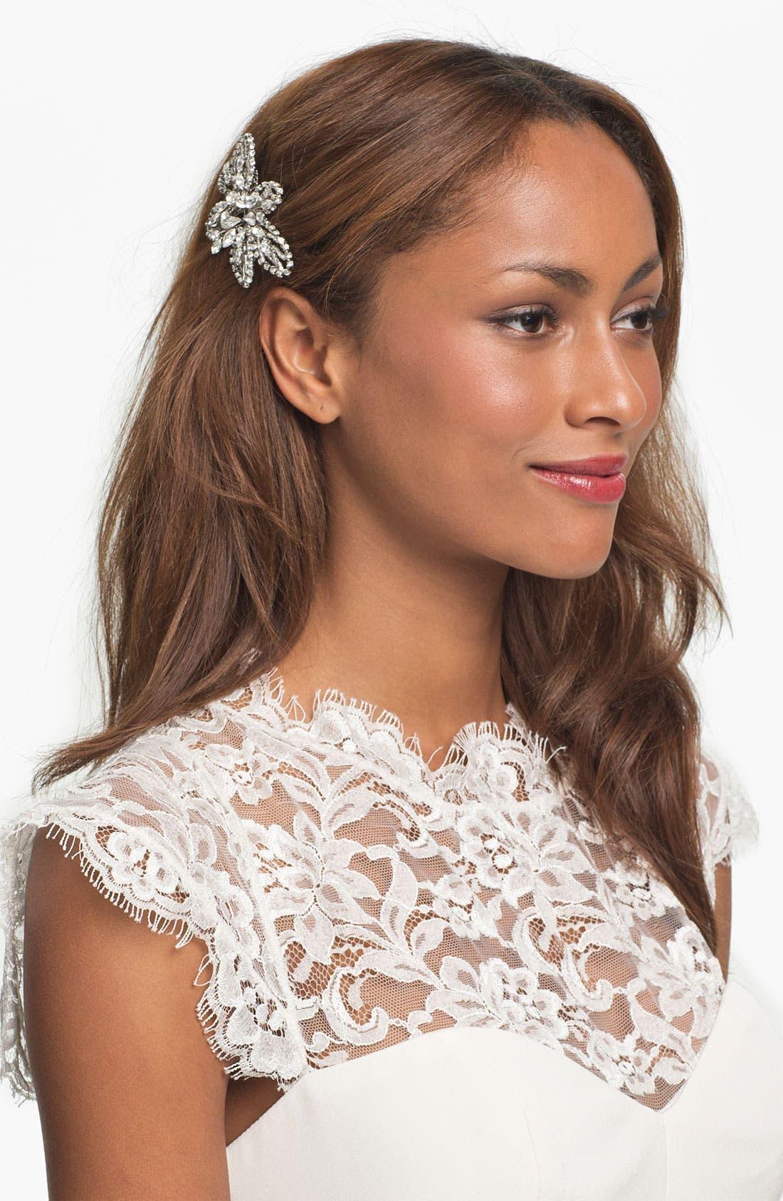 NINA 'Danai' Flower Crystal Hair Comb, Main, color, 040