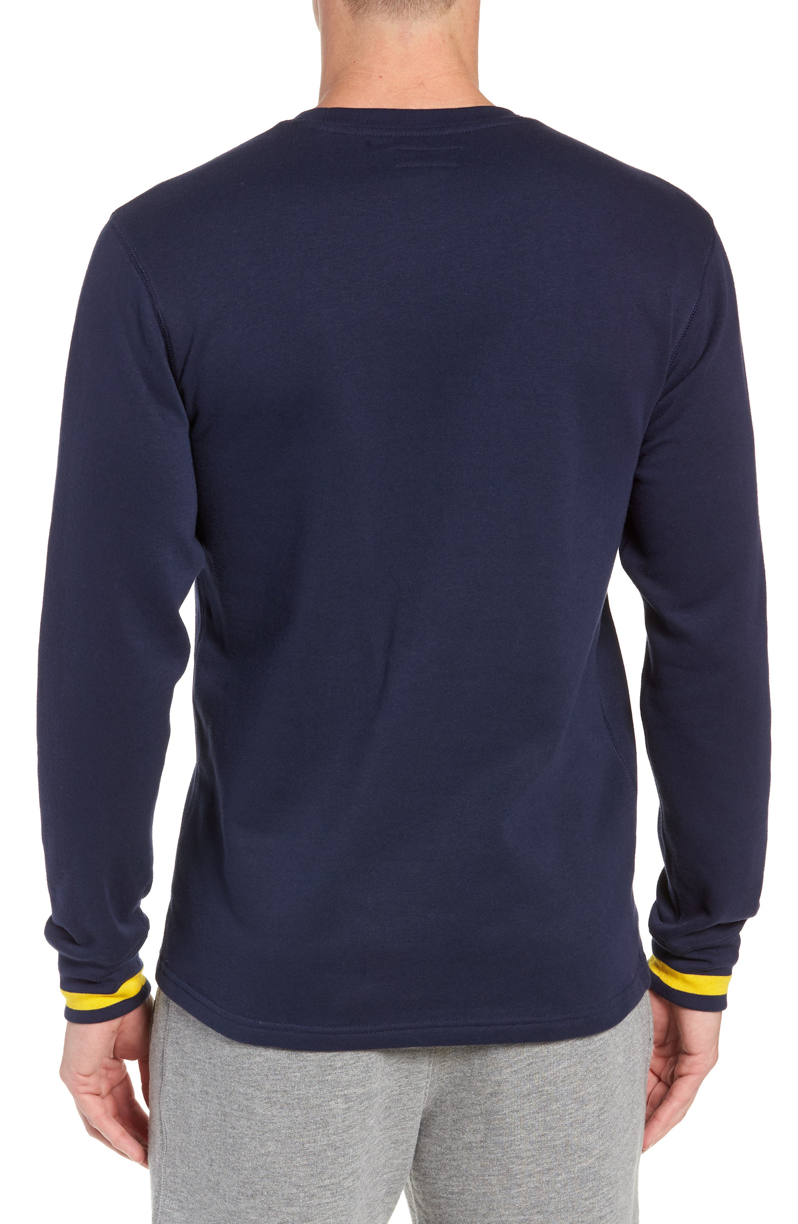 POLO RALPH LAUREN, Brushed Jersey Cotton Blend Crewneck Sweatshirt, Alternate thumbnail 2, color, CRUISE NAVY