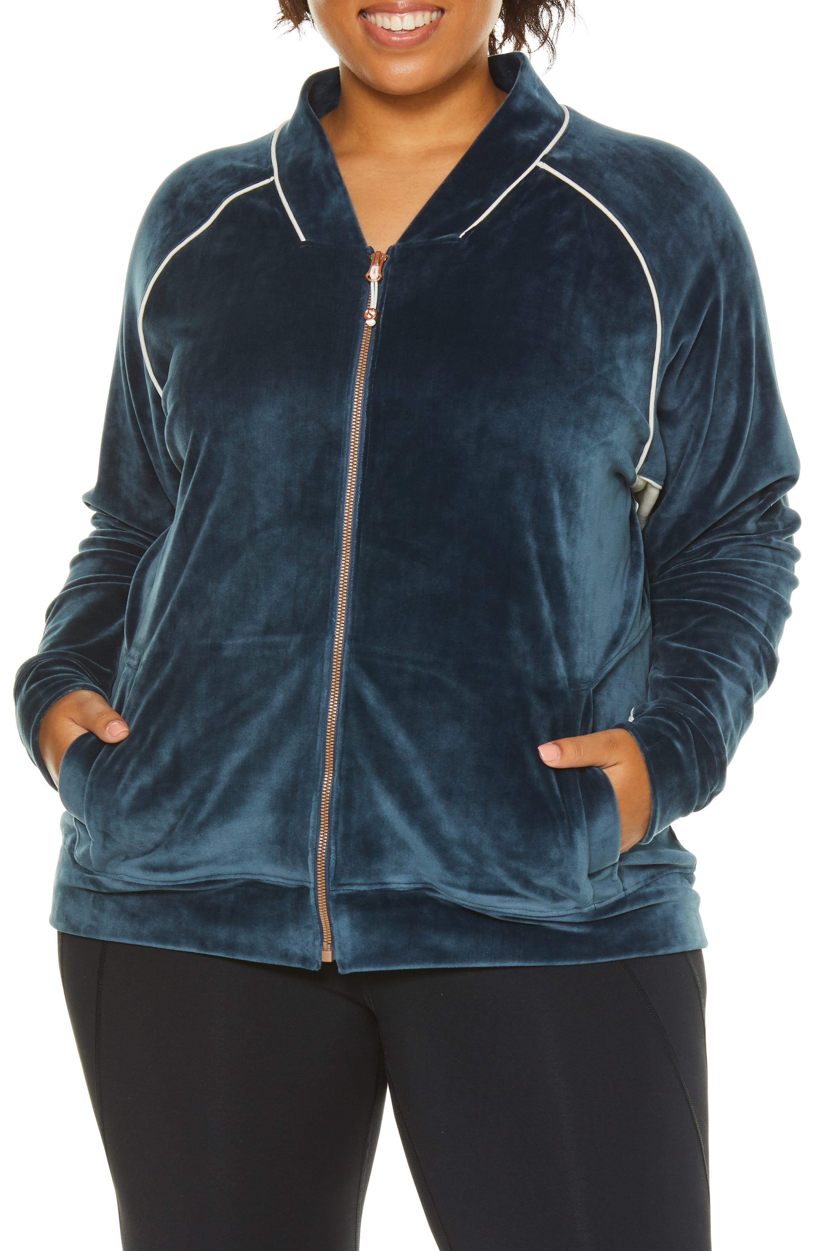SHAPE ACTIVEWEAR, Techno Velour Track Jacket, Alternate thumbnail 6, color, INSIGNIA