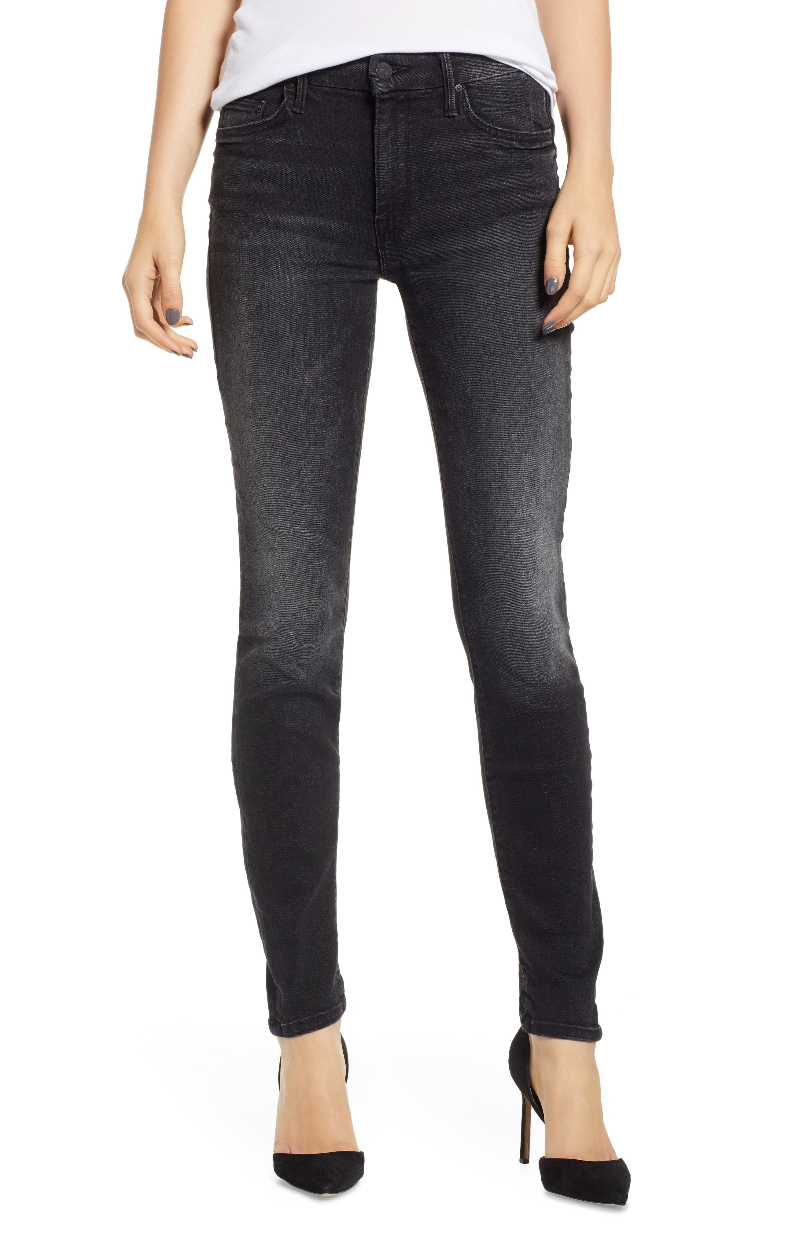 MOTHER, The Looker Mid Rise Skinny Jeans, Main thumbnail 1, color, 001