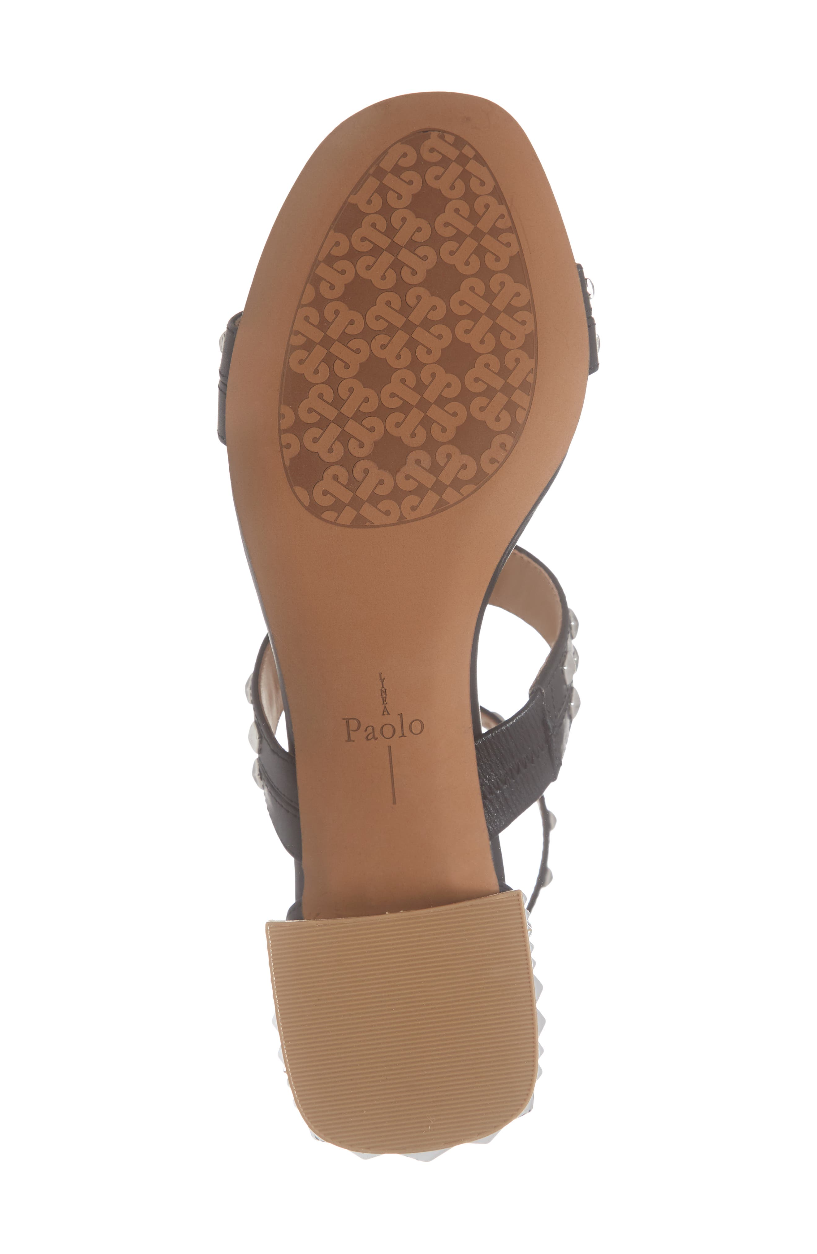 LINEA PAOLO, Harley Sandal, Alternate thumbnail 6, color, BLACK LEATHER