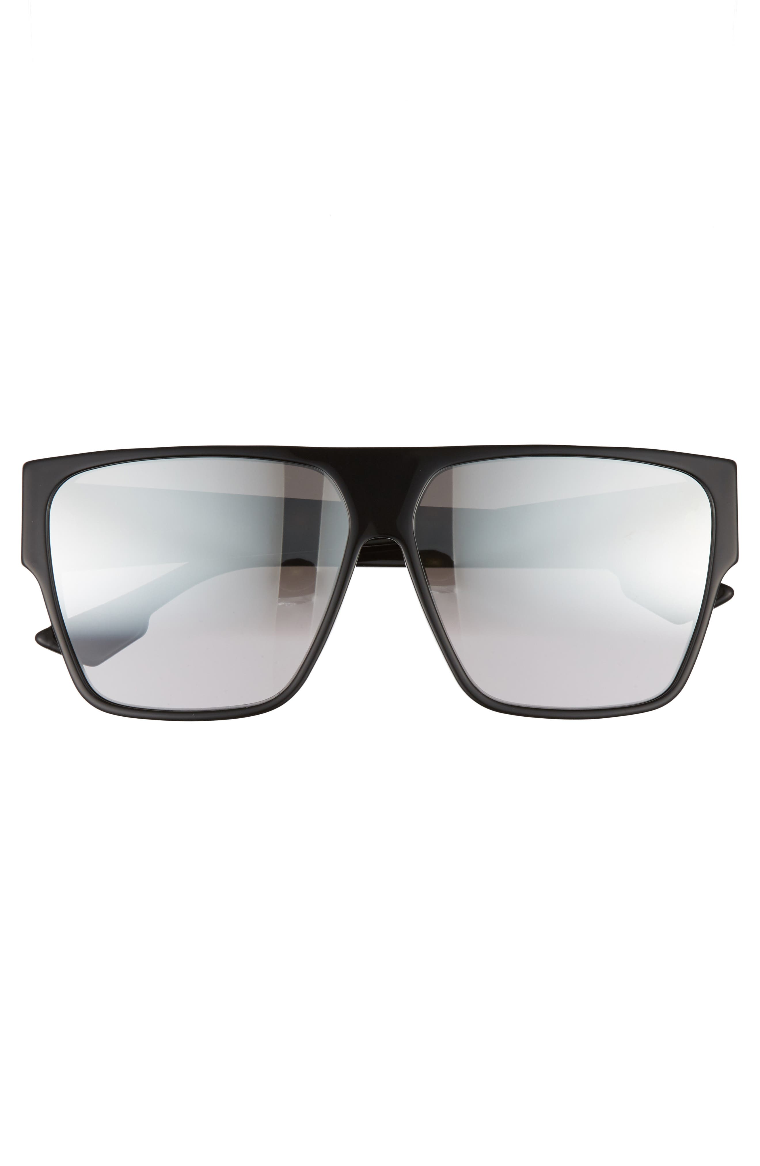 DIOR, 62mm Flat Top Square Sunglasses, Alternate thumbnail 3, color, BLACK