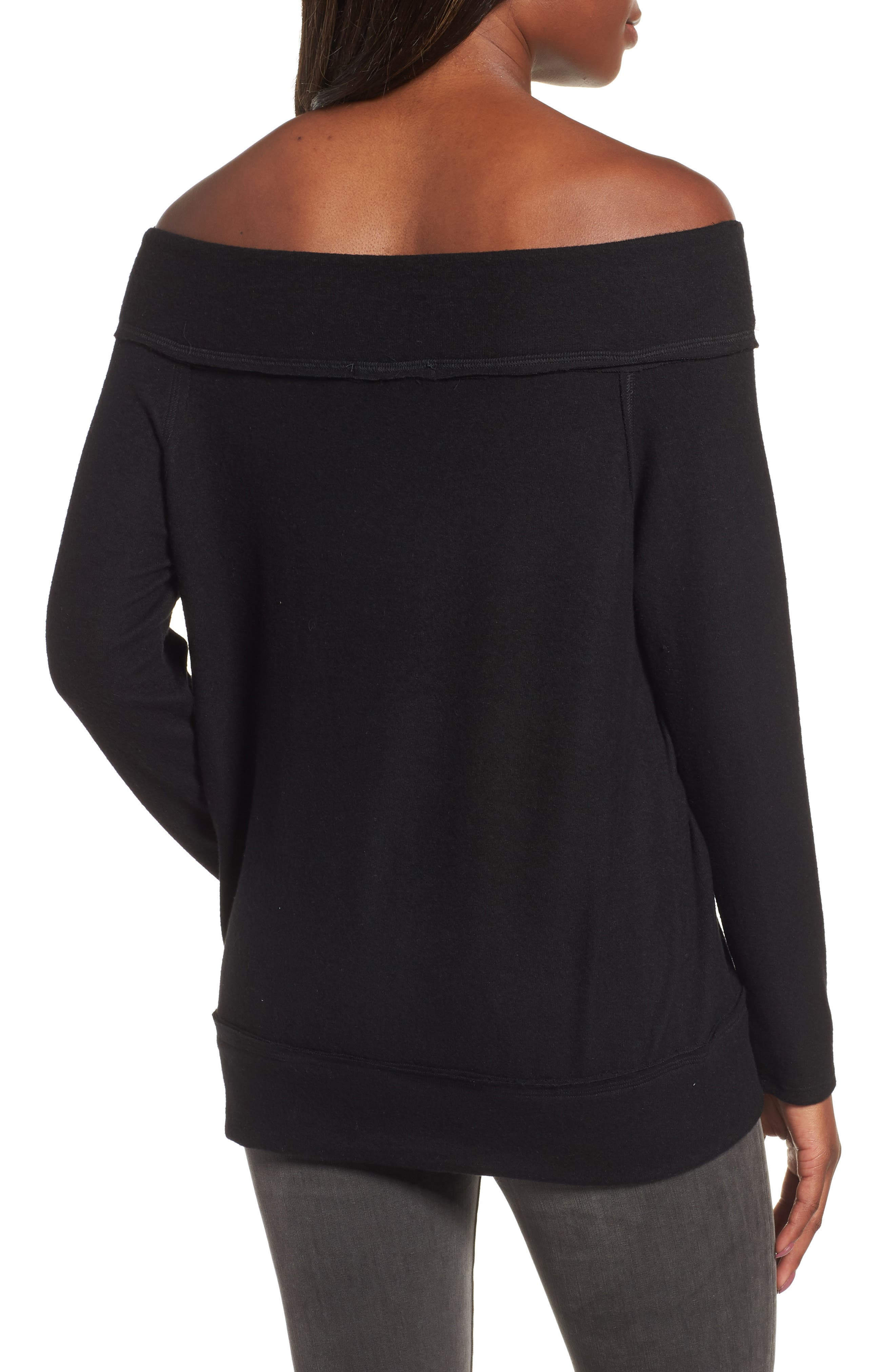 GIBSON, x Living in Yellow Mary Fleece Off the Shoulder Top, Alternate thumbnail 2, color, BLACK