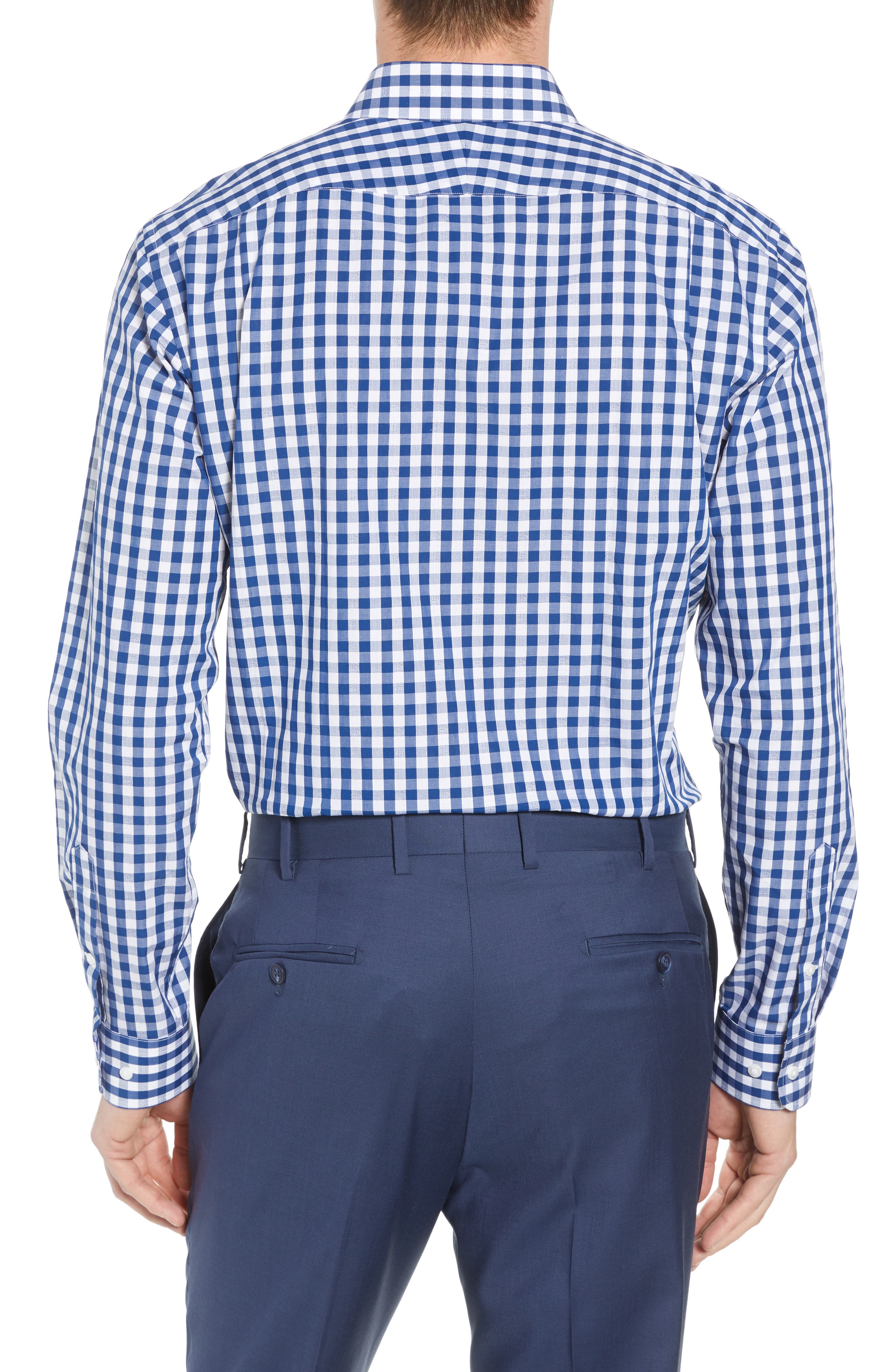 1901, Trim Fit Check Dress Shirt, Alternate thumbnail 3, color, BLUE CASPIA