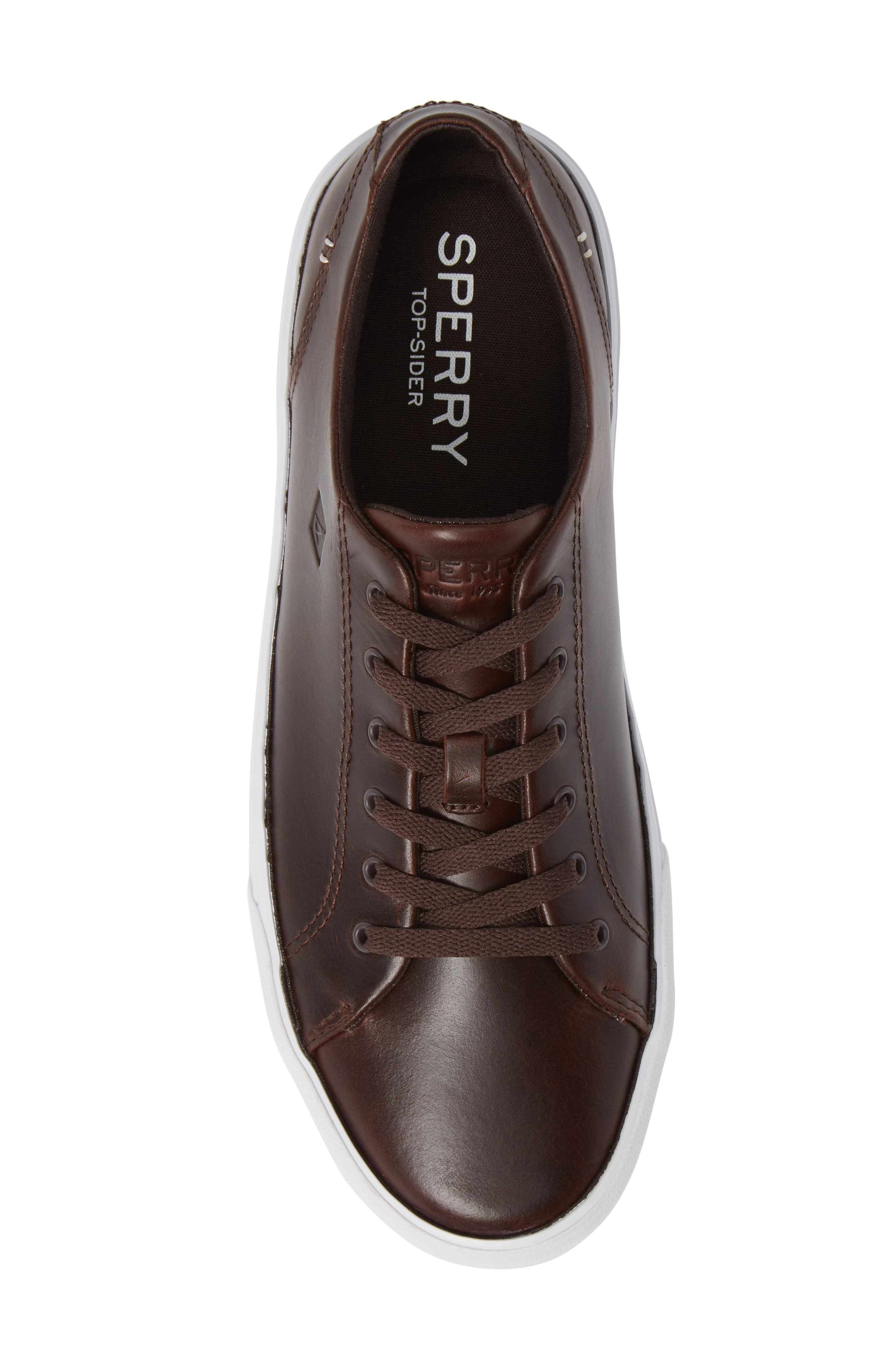 SPERRY, Striper II Sneaker, Alternate thumbnail 5, color, AMARETTO LEATHER