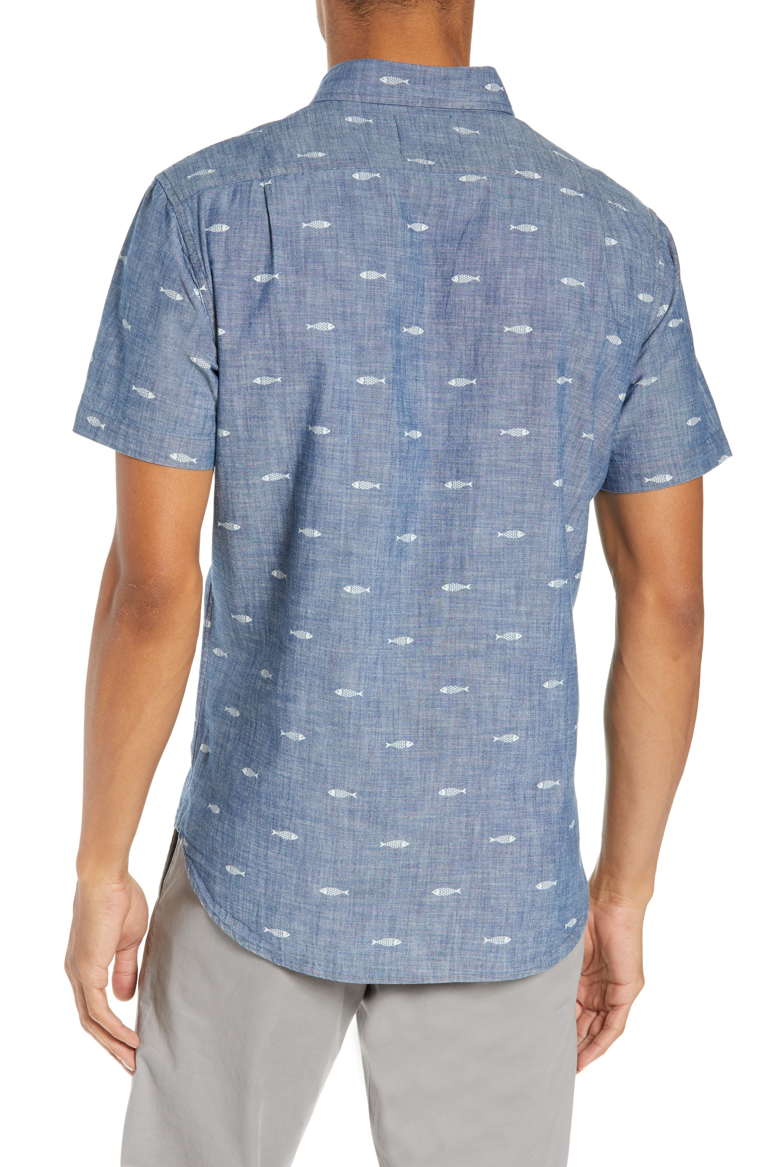 BONOBOS, Riviera Slim Fit Print Sport Shirt, Alternate thumbnail 3, color, CHAMBRAY SARDEEN SCATTER