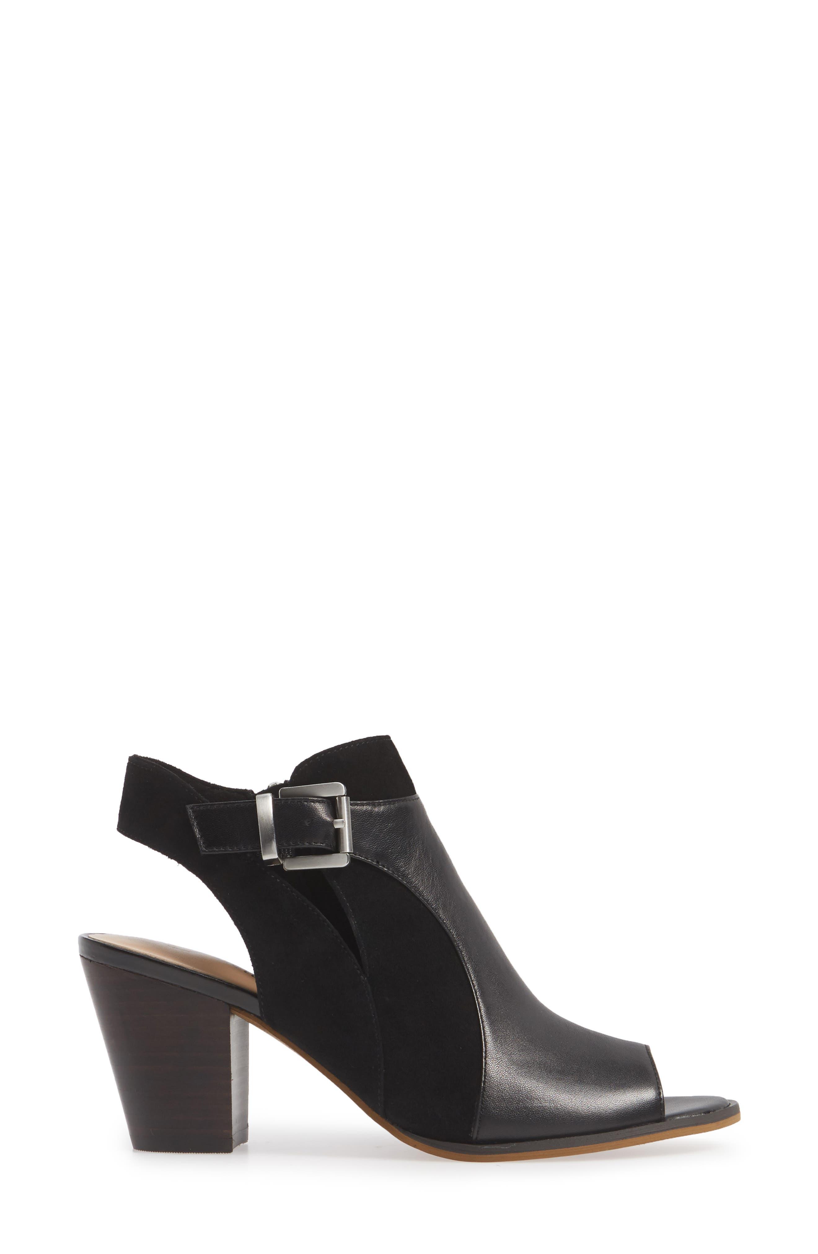 BELLA VITA, Kellan Mixed Finish Sandal, Alternate thumbnail 3, color, BLACK LEATHER/ SUEDE