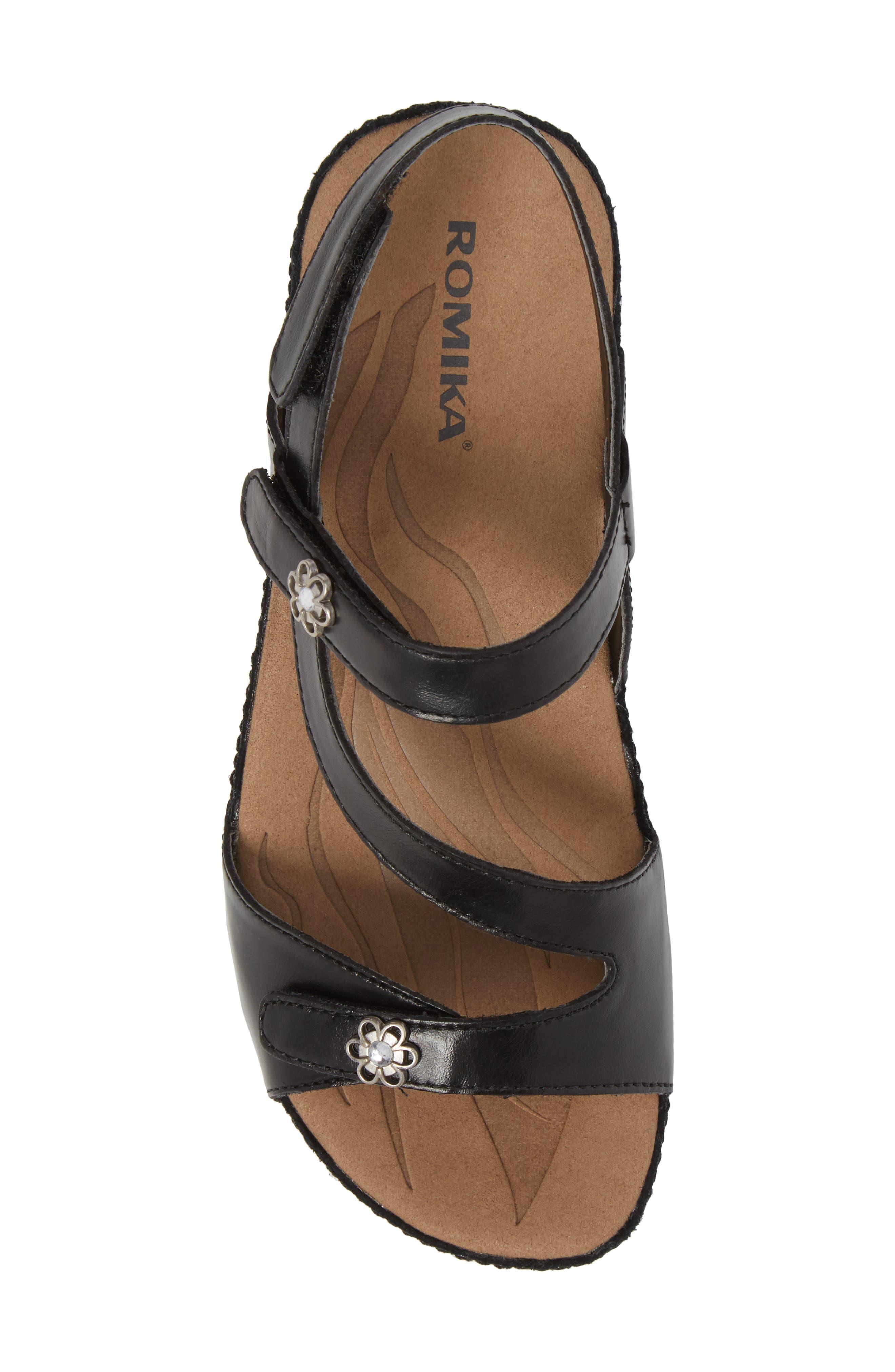 ROMIKA<SUP>®</SUP>, Fidschi 54 Sandal, Alternate thumbnail 5, color, BLACK LEATHER