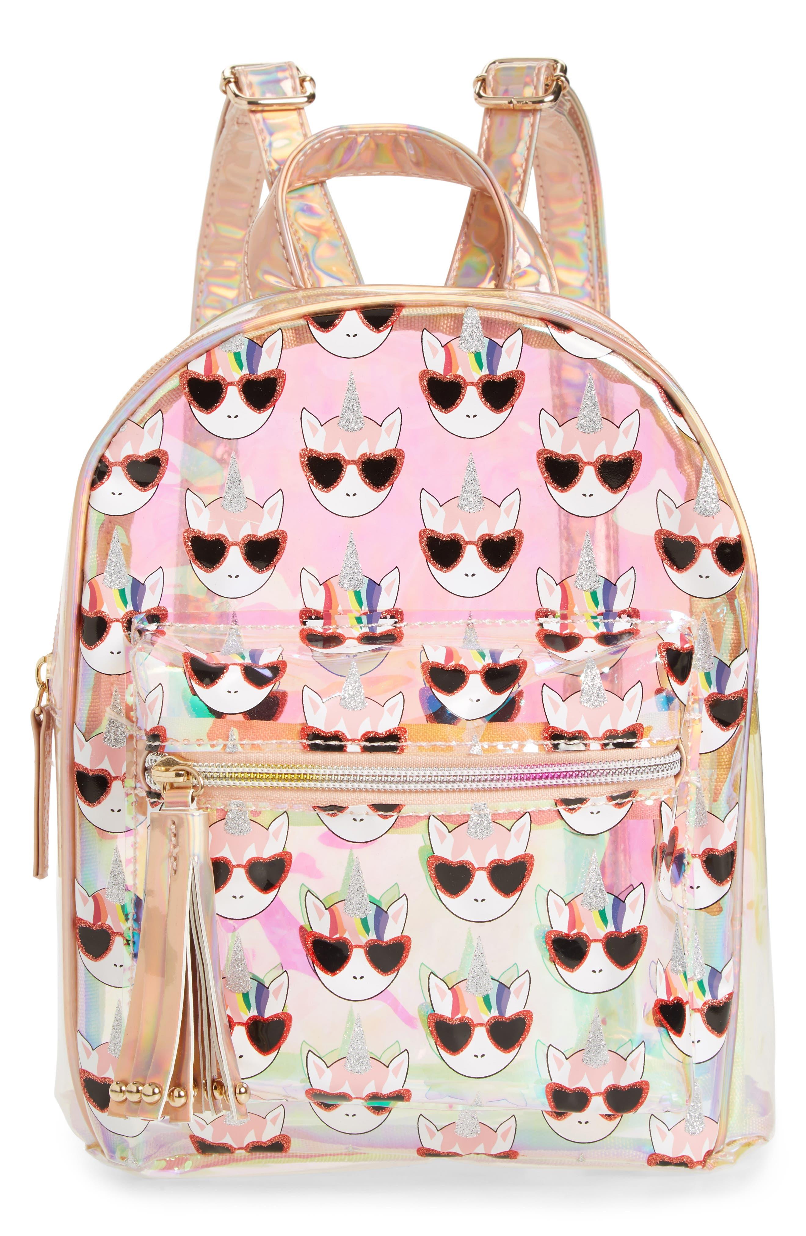 Girls Omg Hologram Unicorn Mini Backpack  None