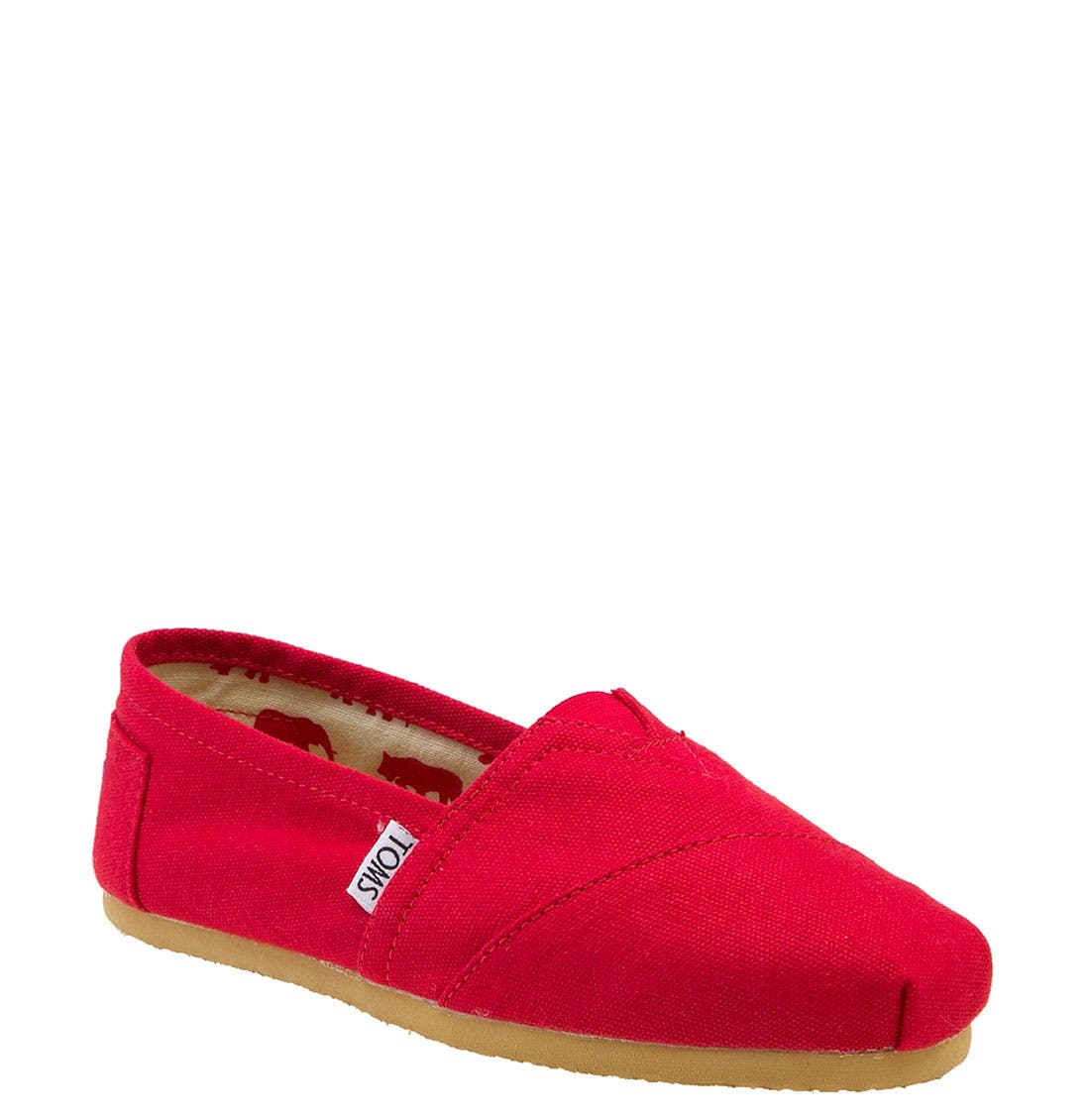 TOMS, Classic Canvas Slip-On, Alternate thumbnail 2, color, RED