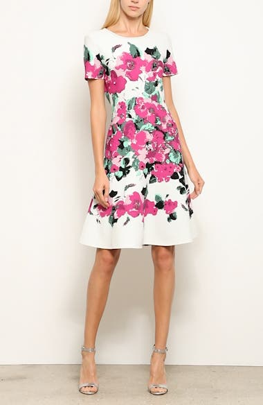 Vibrant Blooming Jacquard Fit & Flare Dress, video thumbnail