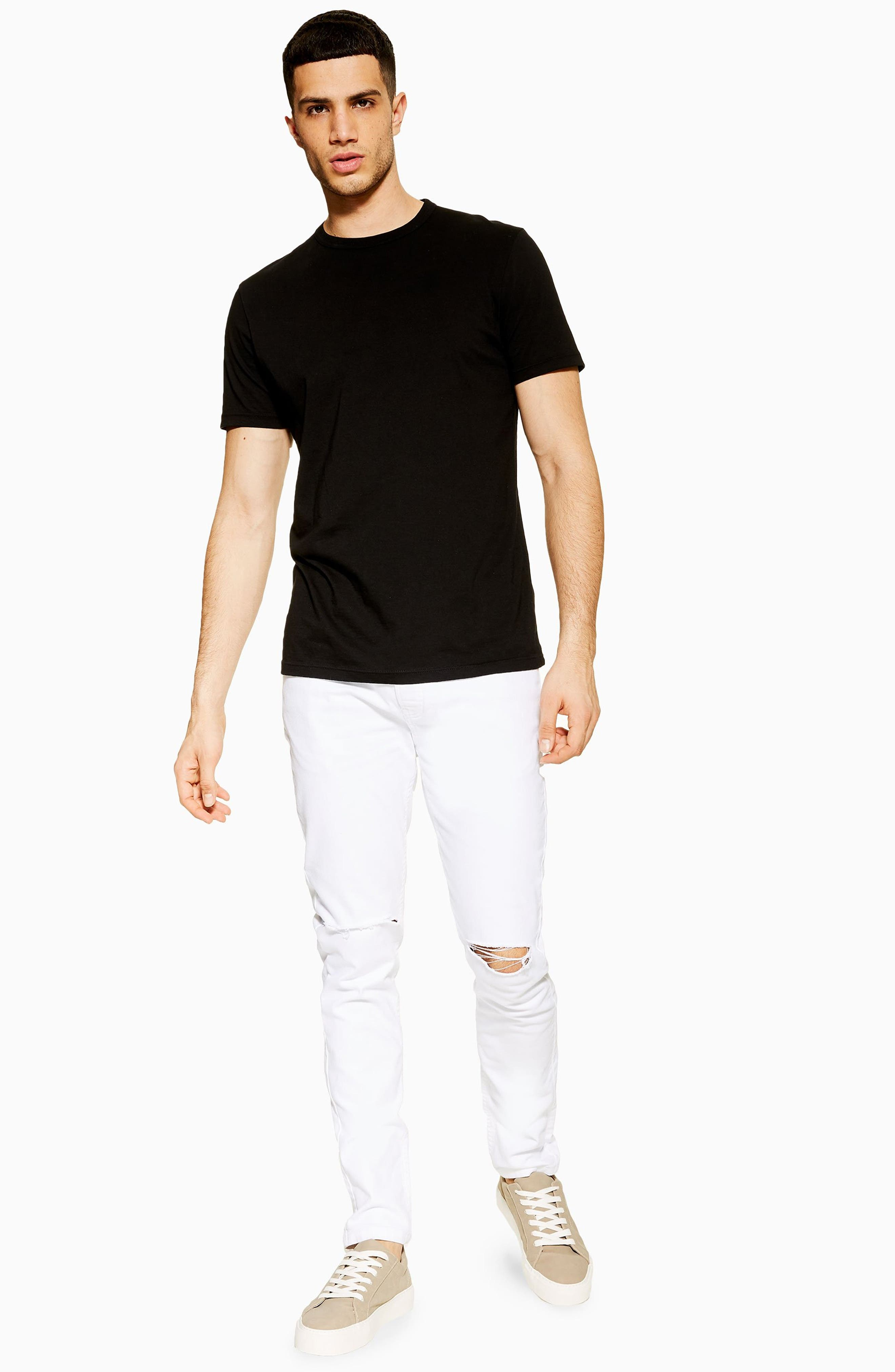 TOPMAN, Ripped Stretch Skinny Fit Jeans, Alternate thumbnail 5, color, WHITE