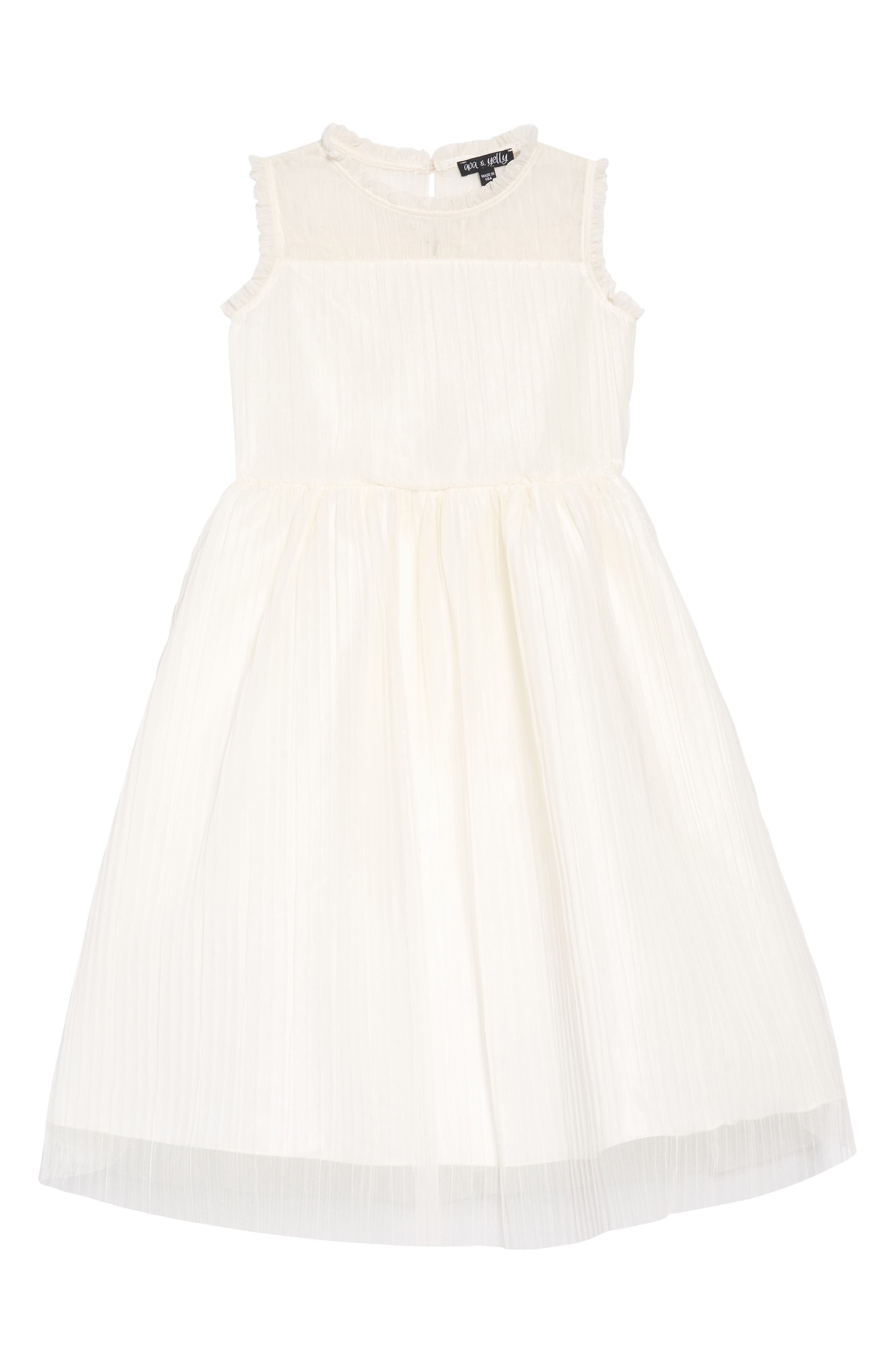 Girls Ava  Yelly Plisse Mesh Dress Size 6X  Ivory