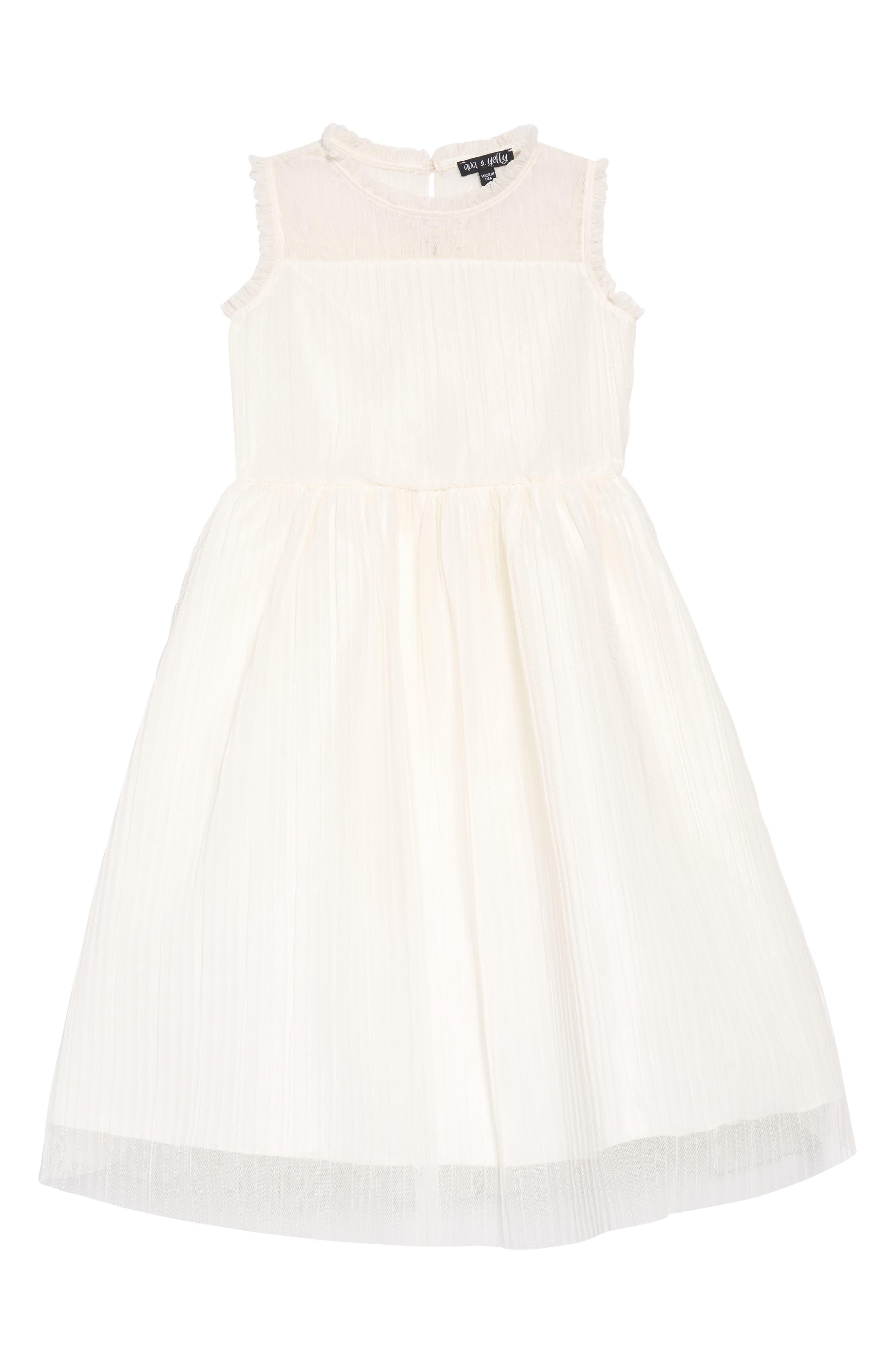 AVA & YELLY Plissé Mesh Dress, Main, color, IVORY