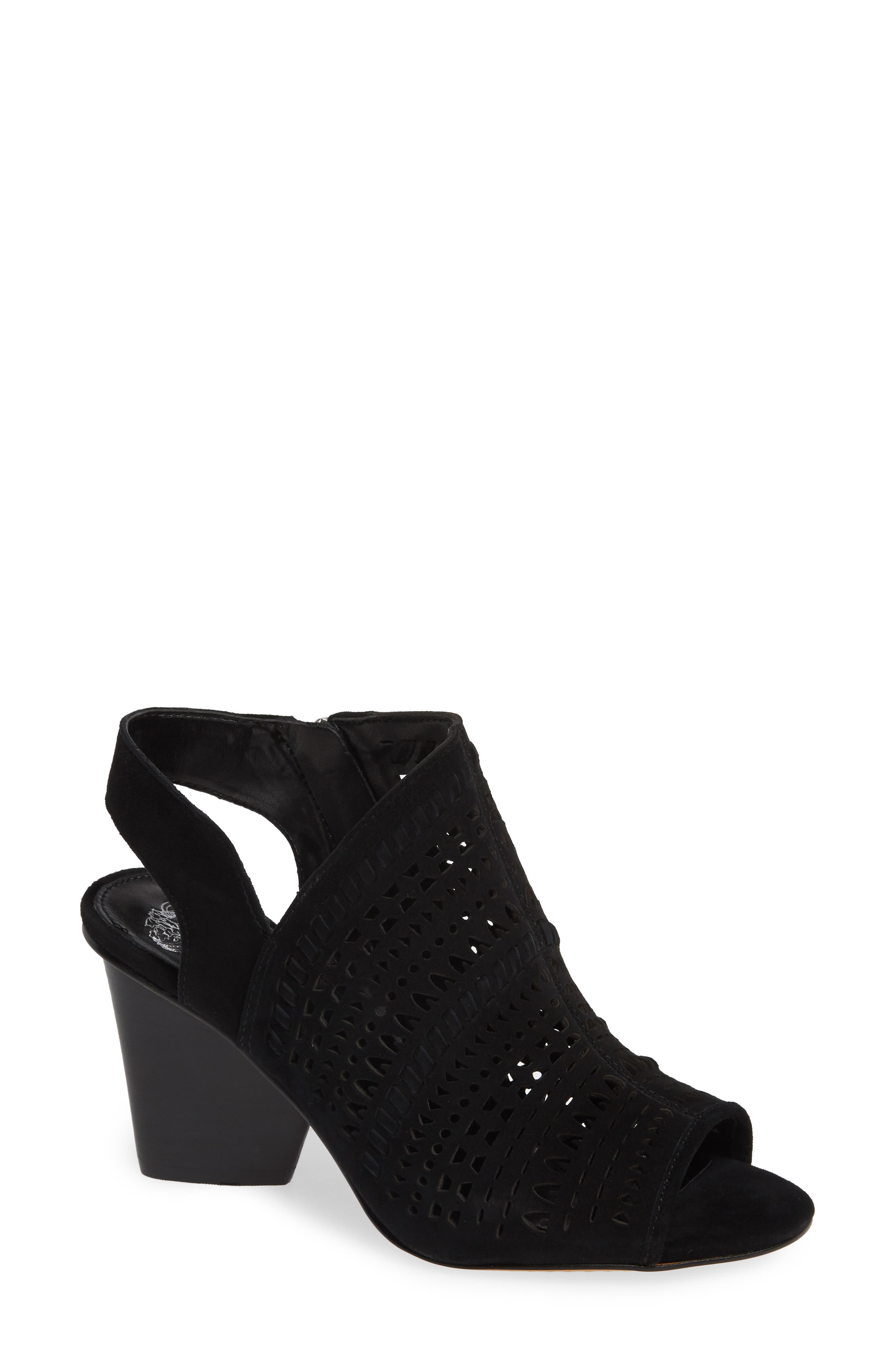 VINCE CAMUTO, Derechie Perforated Shield Sandal, Main thumbnail 1, color, BLACK SUEDE