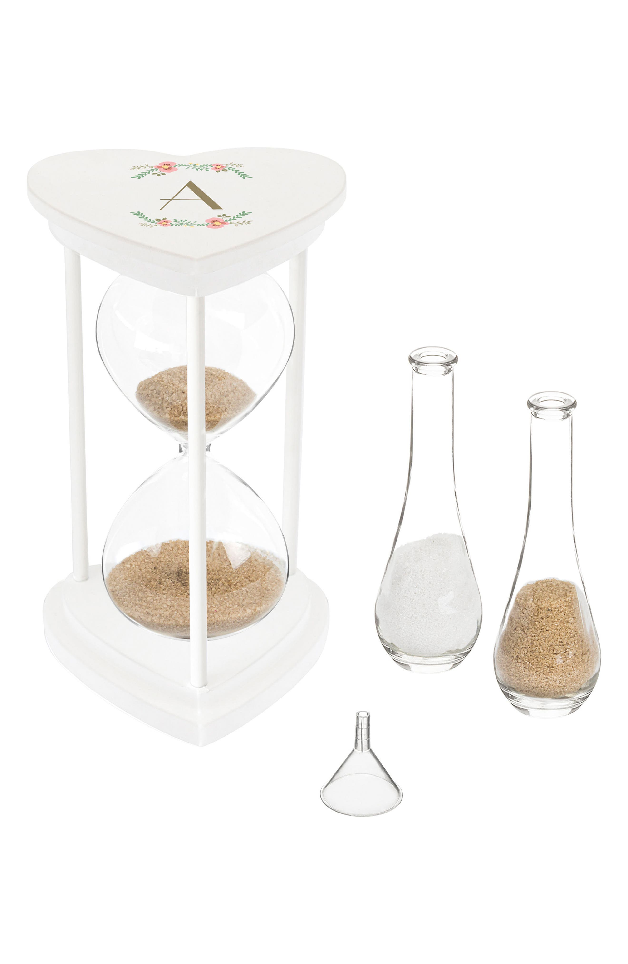 CATHY'S CONCEPTS, Monogram Unity Sand Ceremony Hourglass Set, Main thumbnail 1, color, WHITE - A
