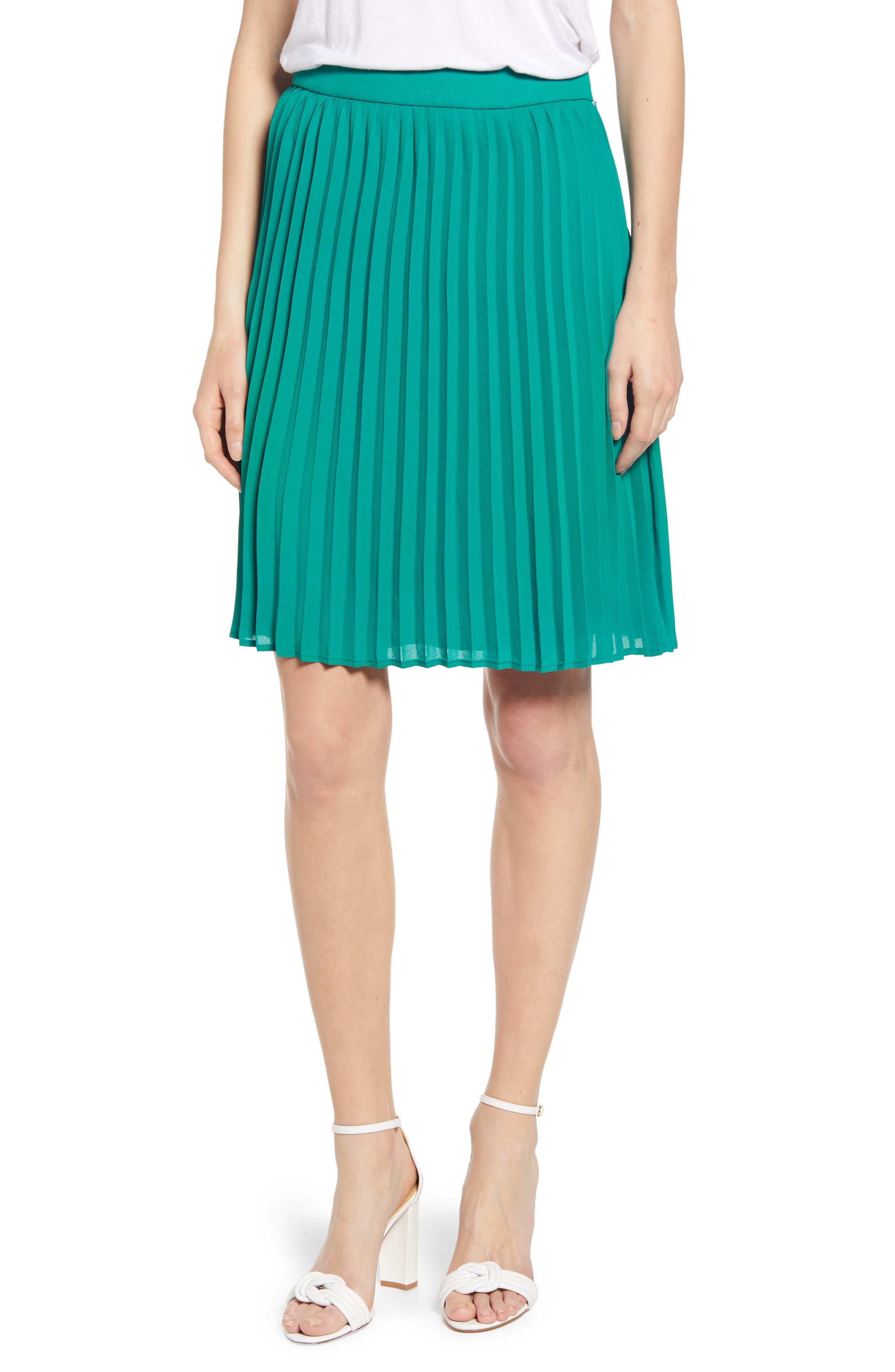GIBSON, x International Women's Day Thamarr Pleated Skirt, Main thumbnail 1, color, GREEN