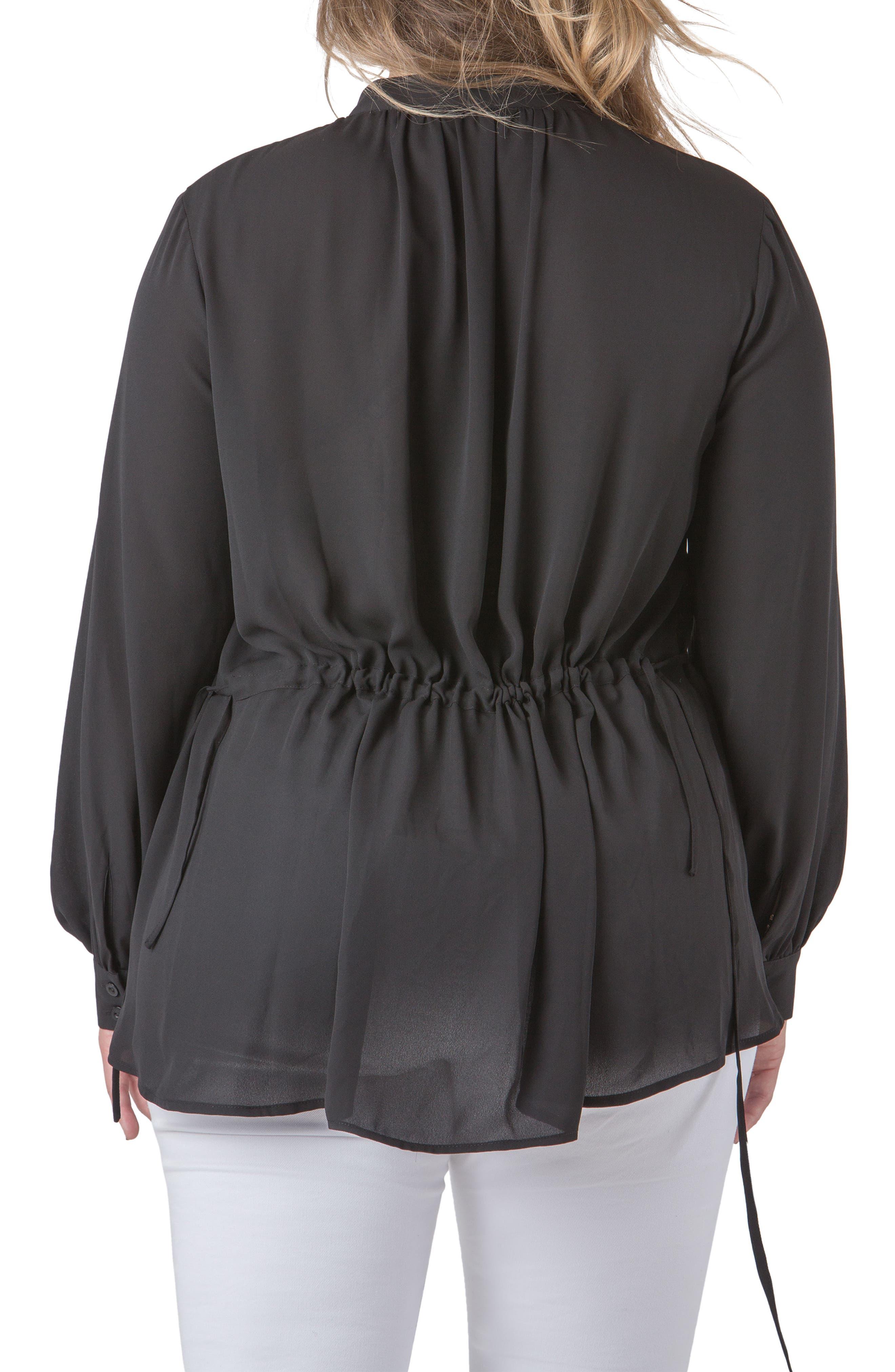 STANDARDS & PRACTICES, Trisha Tuxedo Front Chiffon Blouse, Alternate thumbnail 2, color, BLACK
