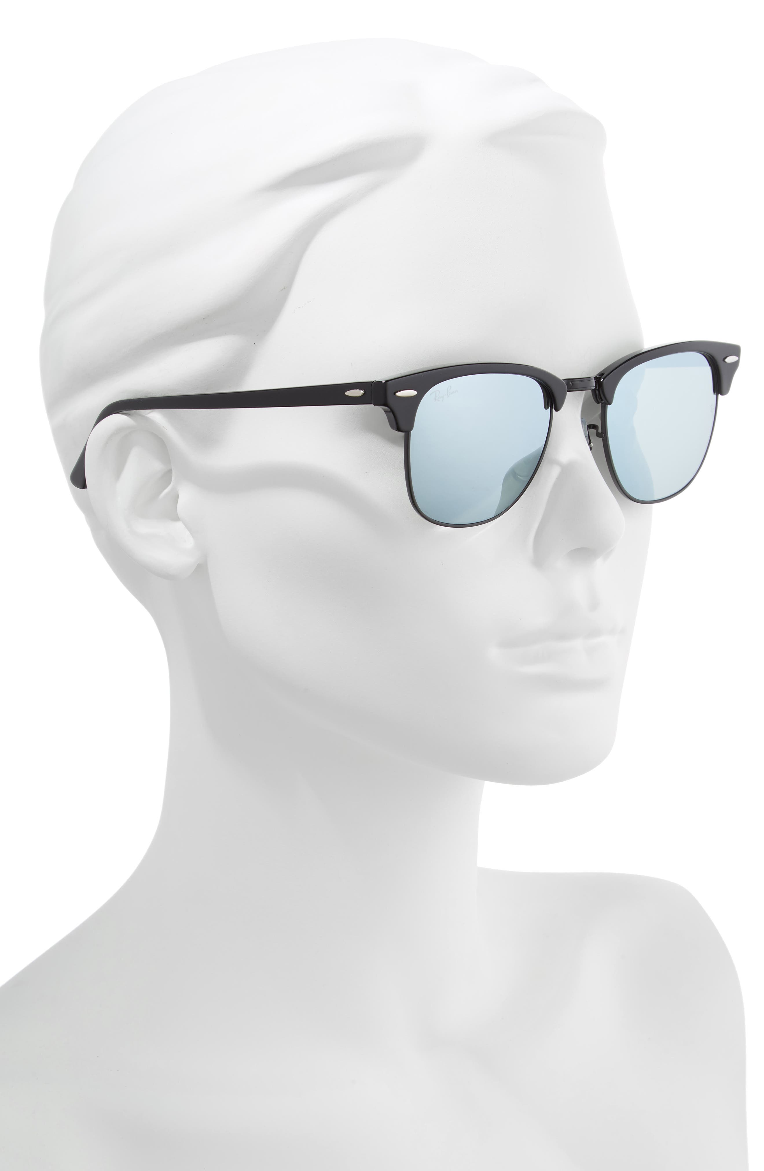 RAY-BAN, Standard Clubmaster 51mm Sunglasses, Alternate thumbnail 2, color, BLACK/ BLUE MIRROR