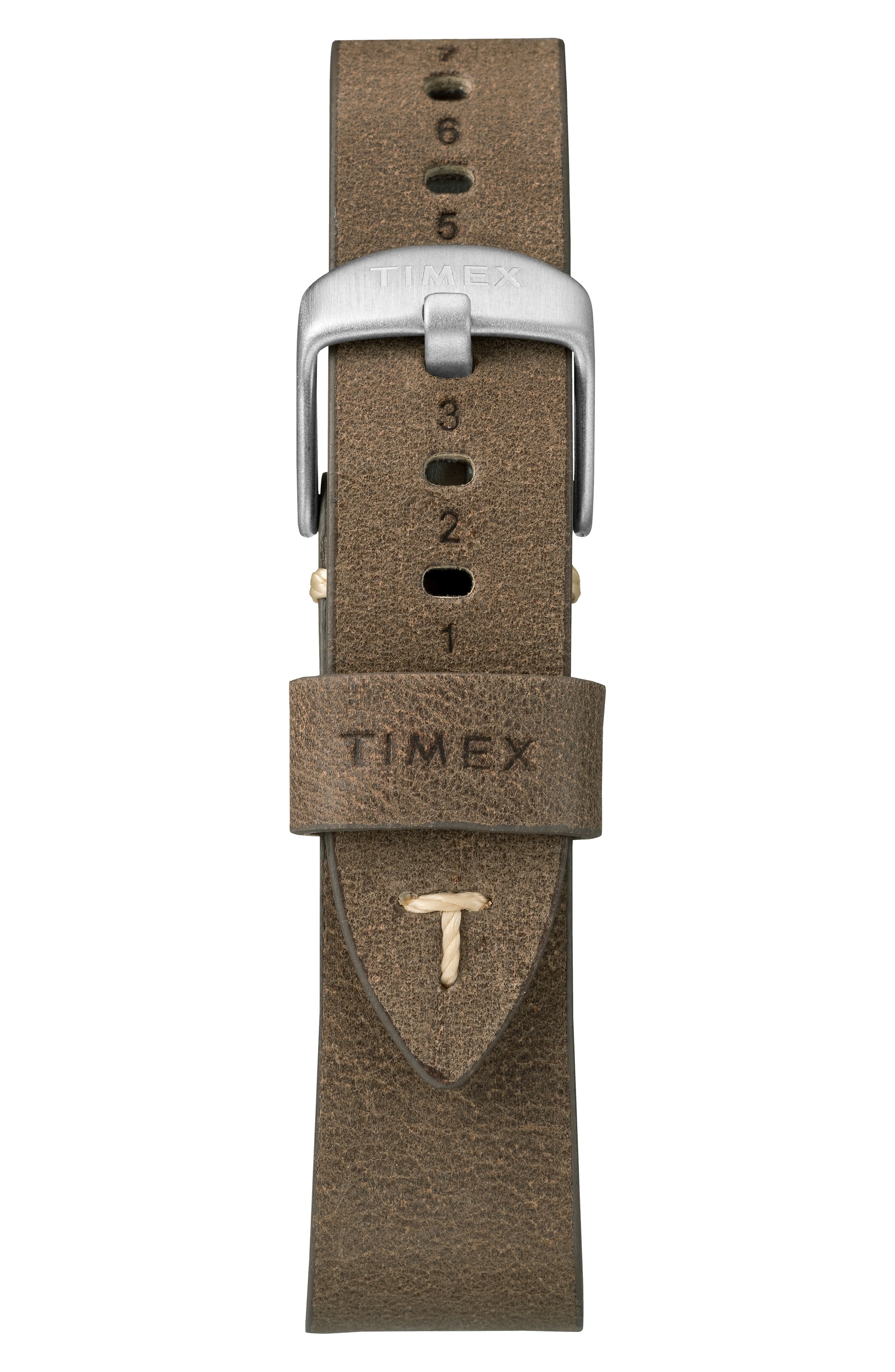 TIMEX<SUP>®</SUP>, MK1 Leather Strap Watch, 40mm, Alternate thumbnail 2, color, BROWN/ CREAM/ SILVER