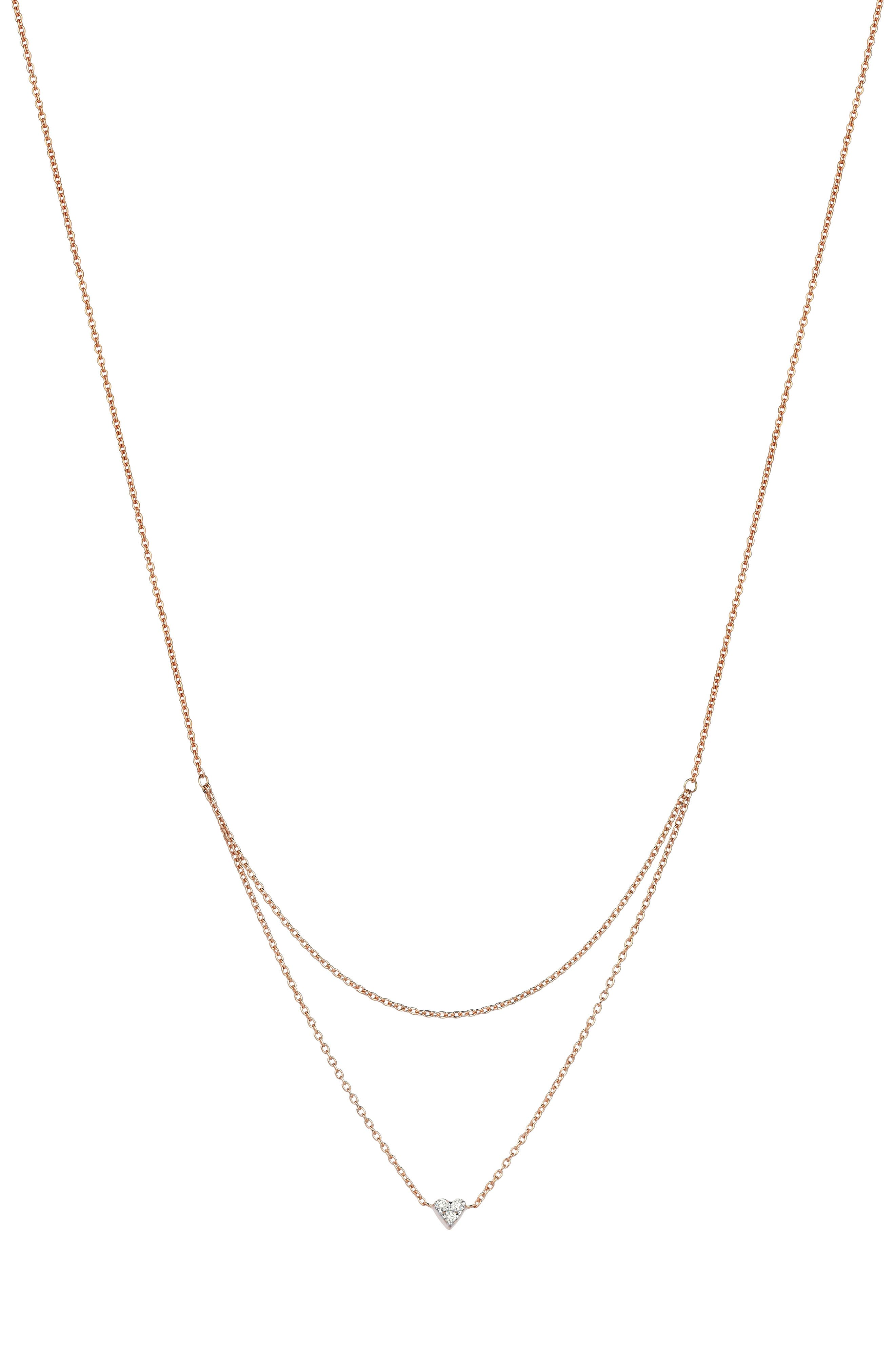 KISMET BY MILKA, Double Layer Diamond Pendant Necklace, Main thumbnail 1, color, ROSE GOLD