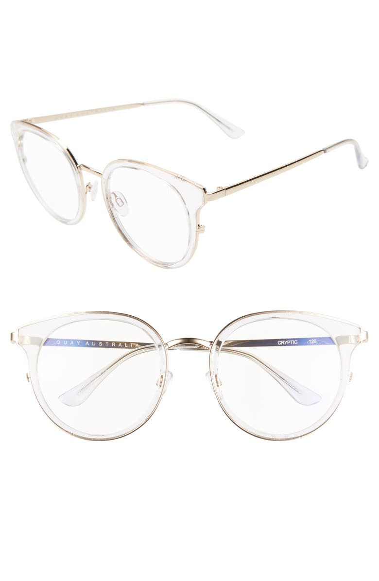 Quay CRYPTIC 53MM BLUE LIGHT BLOCKING GLASSES - CLEAR