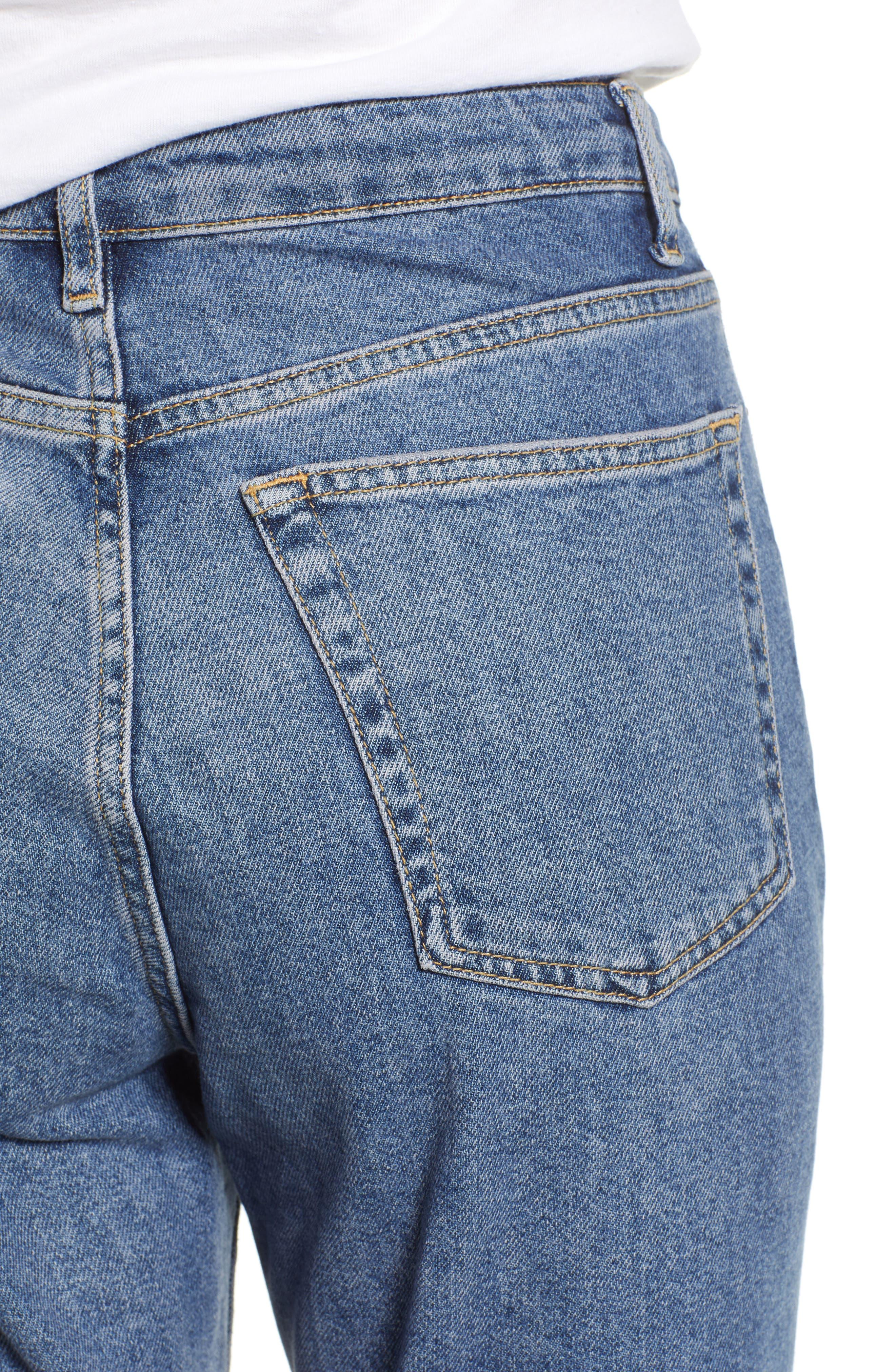 TOPSHOP, Straight Leg Jeans, Alternate thumbnail 5, color, MID DENIM