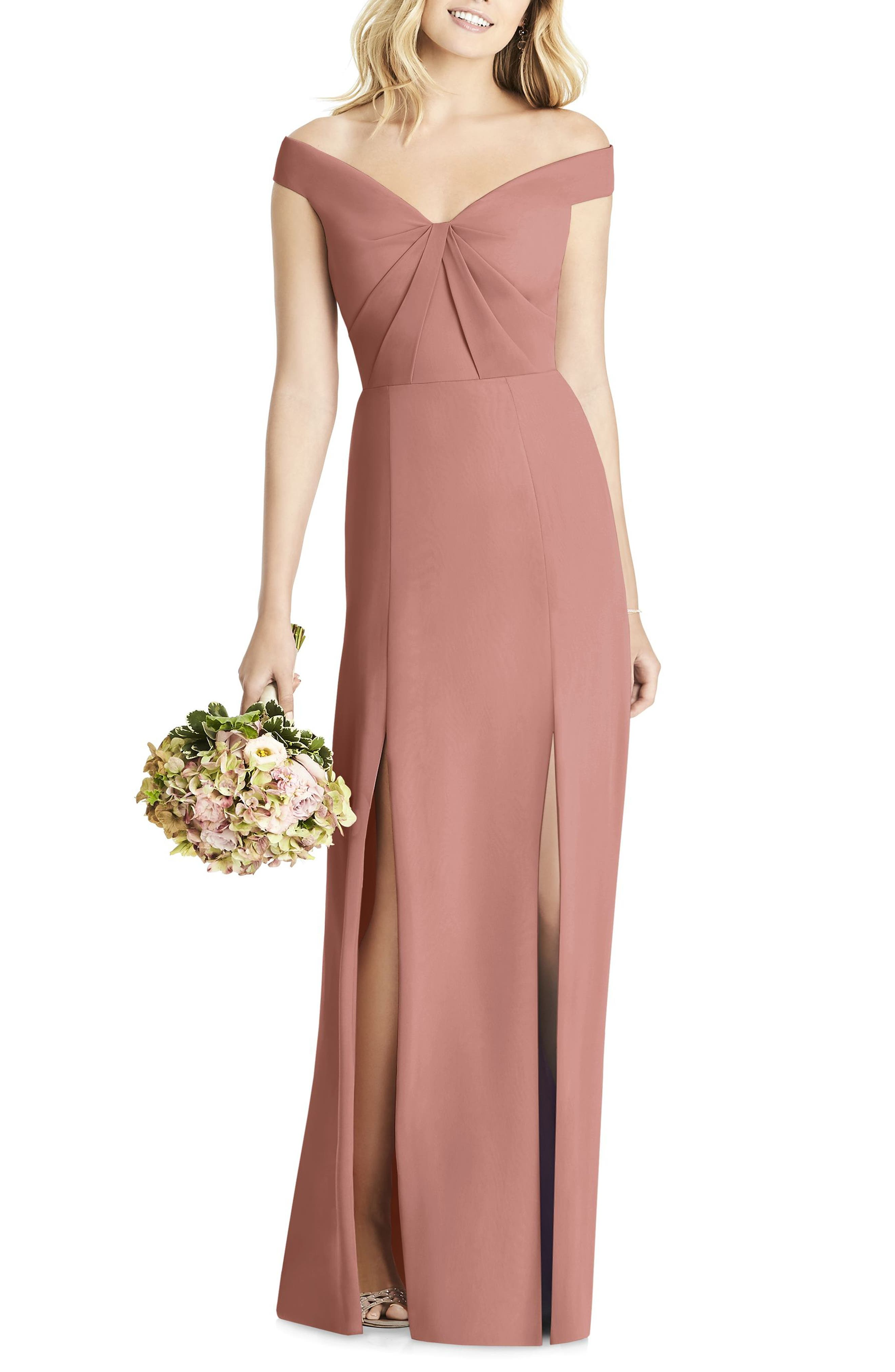 Social Bridesmaids Off The Shoulder Chiffon Gown, Pink