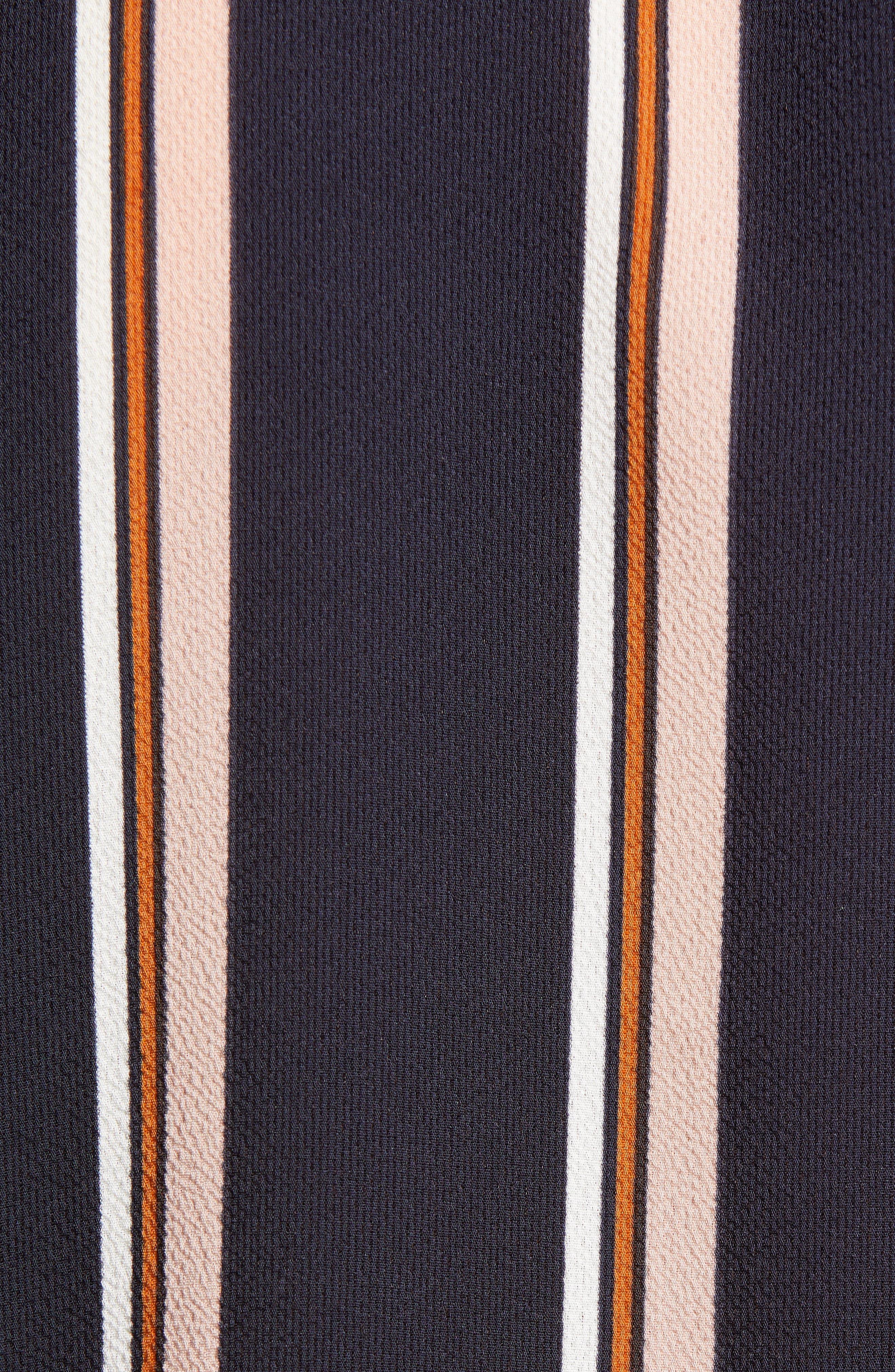 ALL IN FAVOR, Patterned Drape Front Blouse, Alternate thumbnail 5, color, NAVY STRIPE